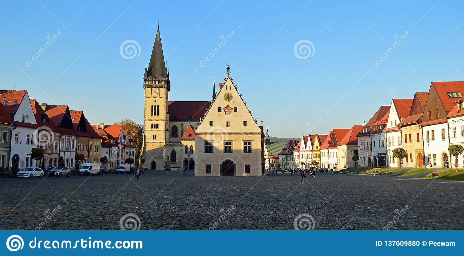 Central square with the Church of St. Aegidius and town hall Bardejov, Slovakia