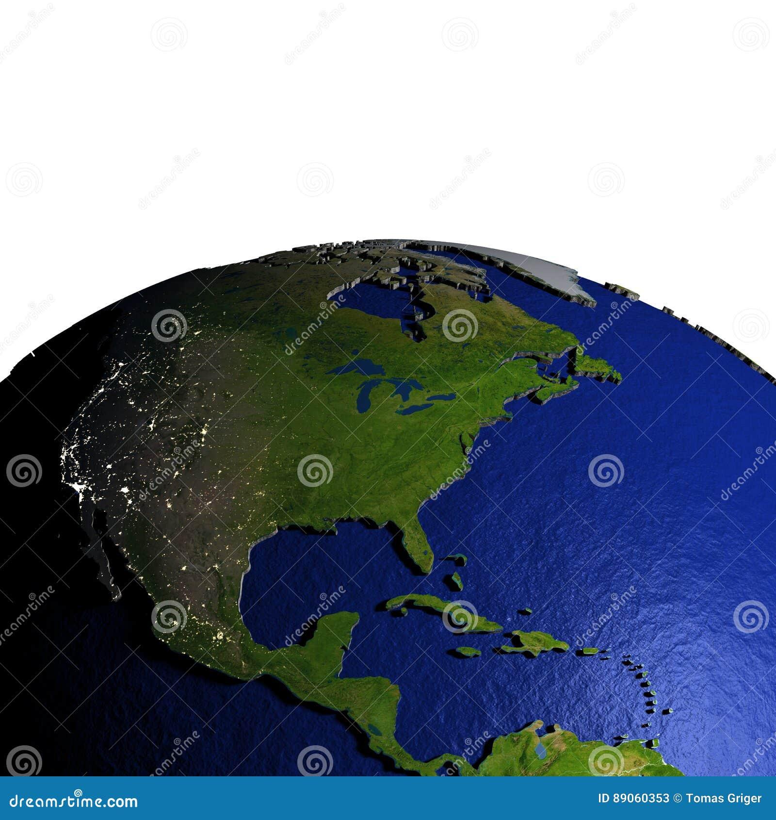 Centrala i Północna Ameryka na modelu ziemia z embossed ziemią