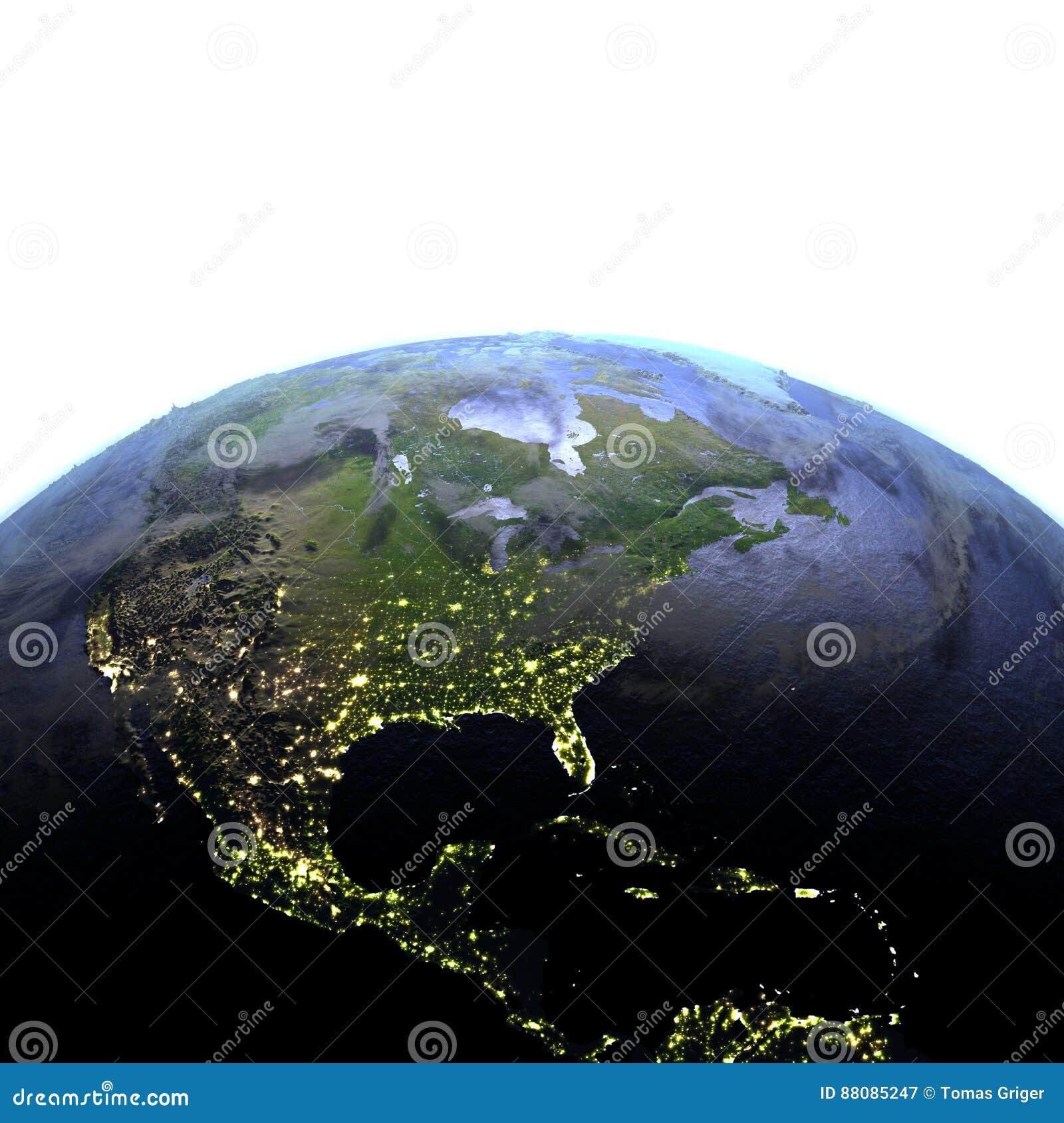Centrala i Północna Ameryka przy nocą na realistycznym modelu ziemia