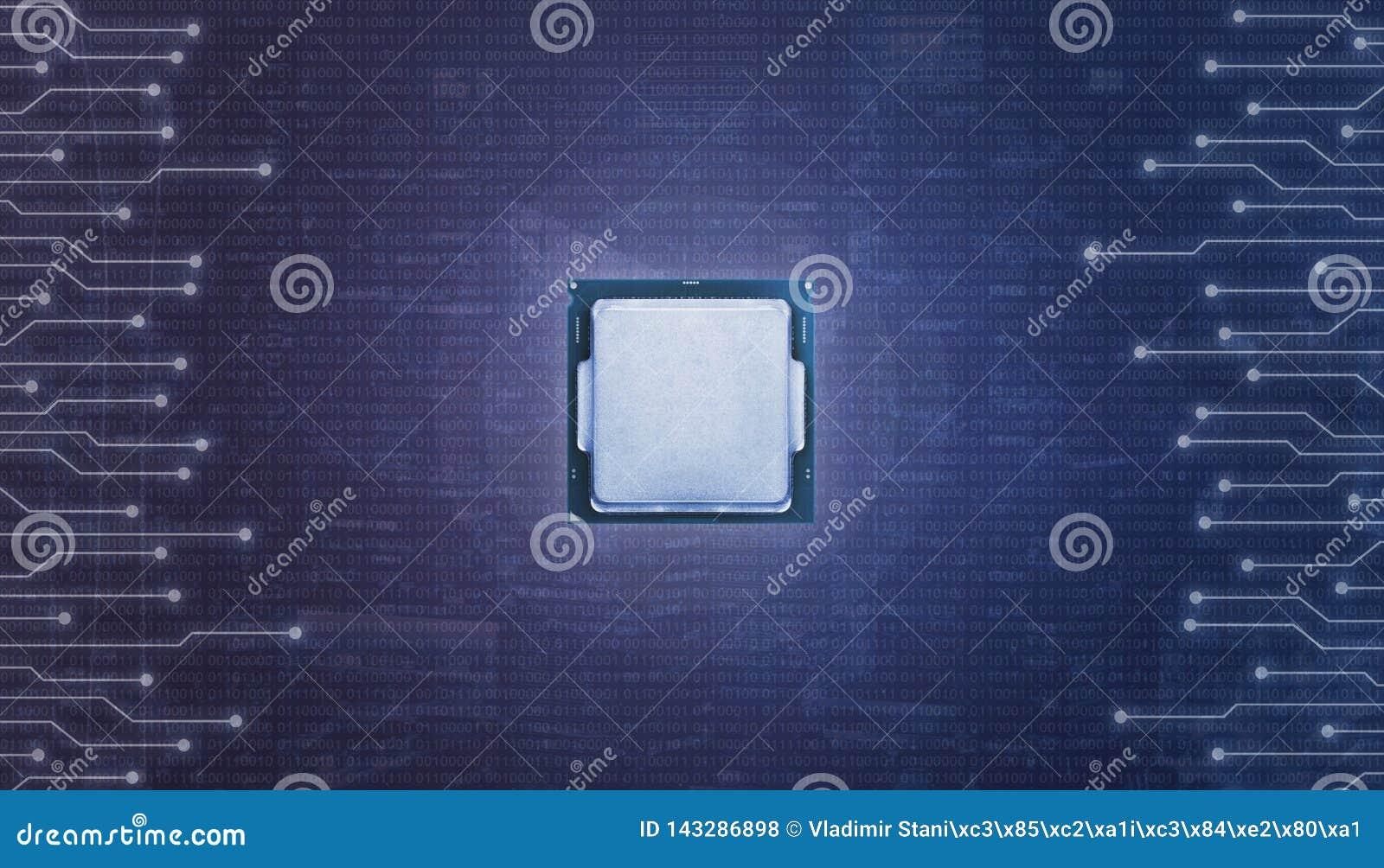 Centrale die spaander met micro-electronische kringen wordt omringd