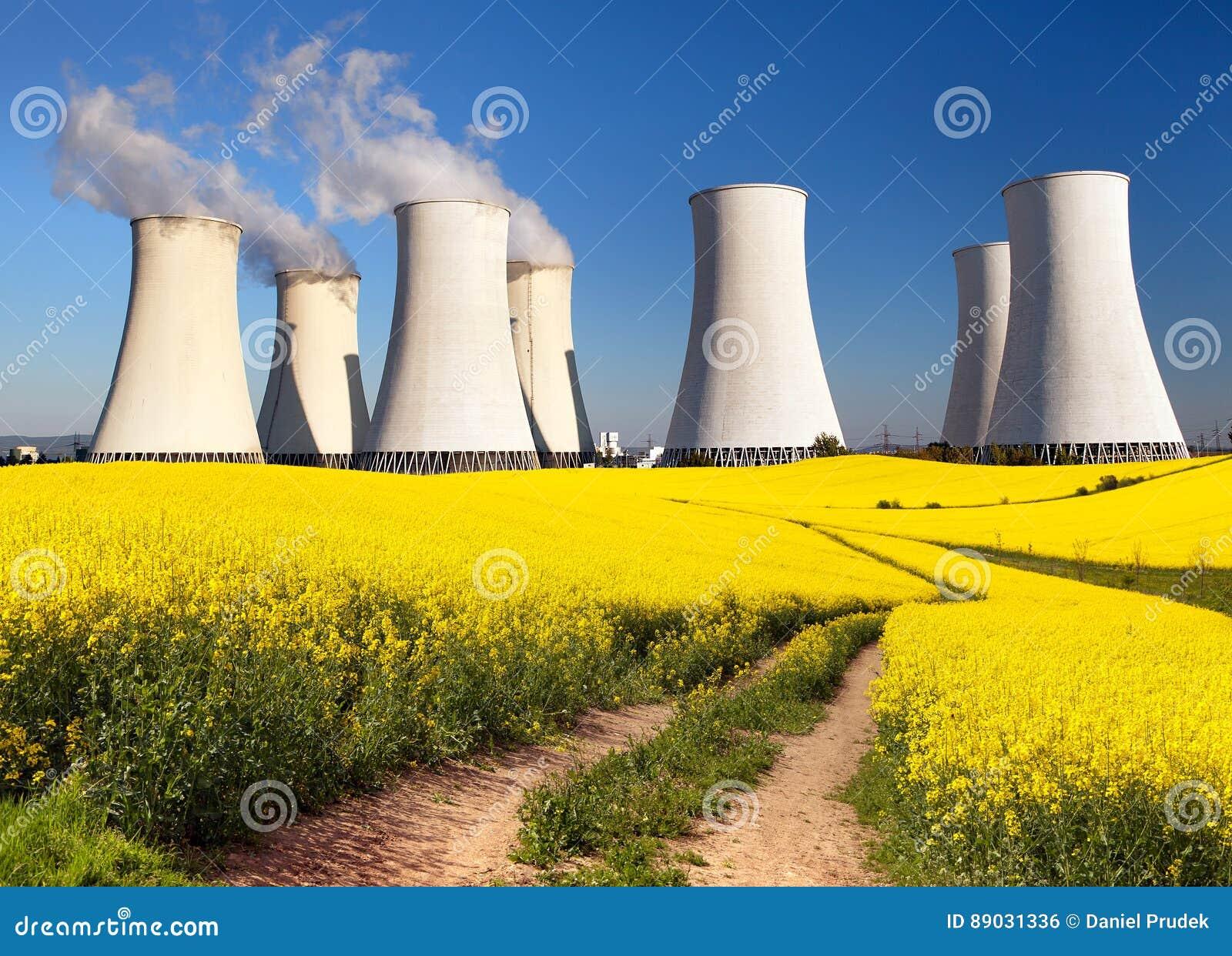 Centrale nucléaire, tour de refroidissement, champ de graine de colza