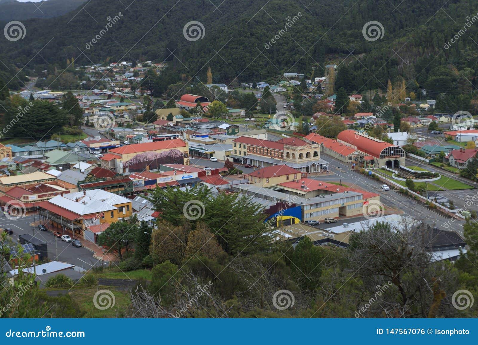 Centre de ville de extraction de Queenstown Tasmanie