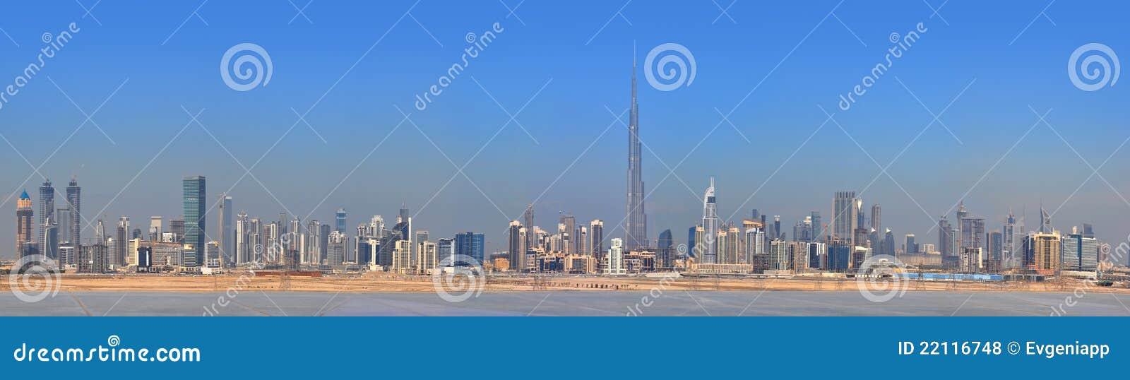 Centre miasta Dubai panoramy drapacz chmur