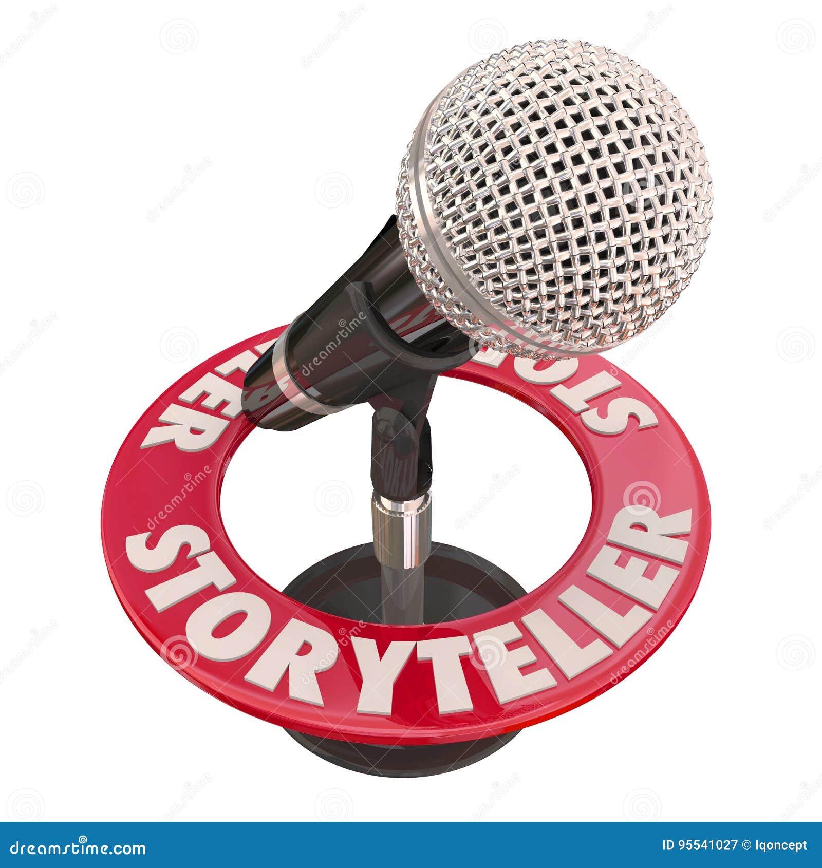 Centre serveur d invité de haut-parleur de microphone de conteur indiquant les contes 3d Illus