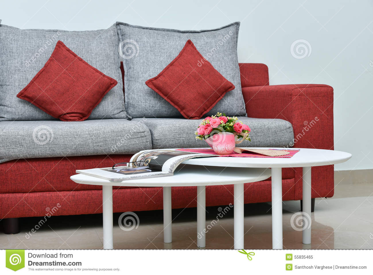 Modern Red And Grey Sofa In Living Room Interior Stock Image Image Of Breakfast Dessert 55835465