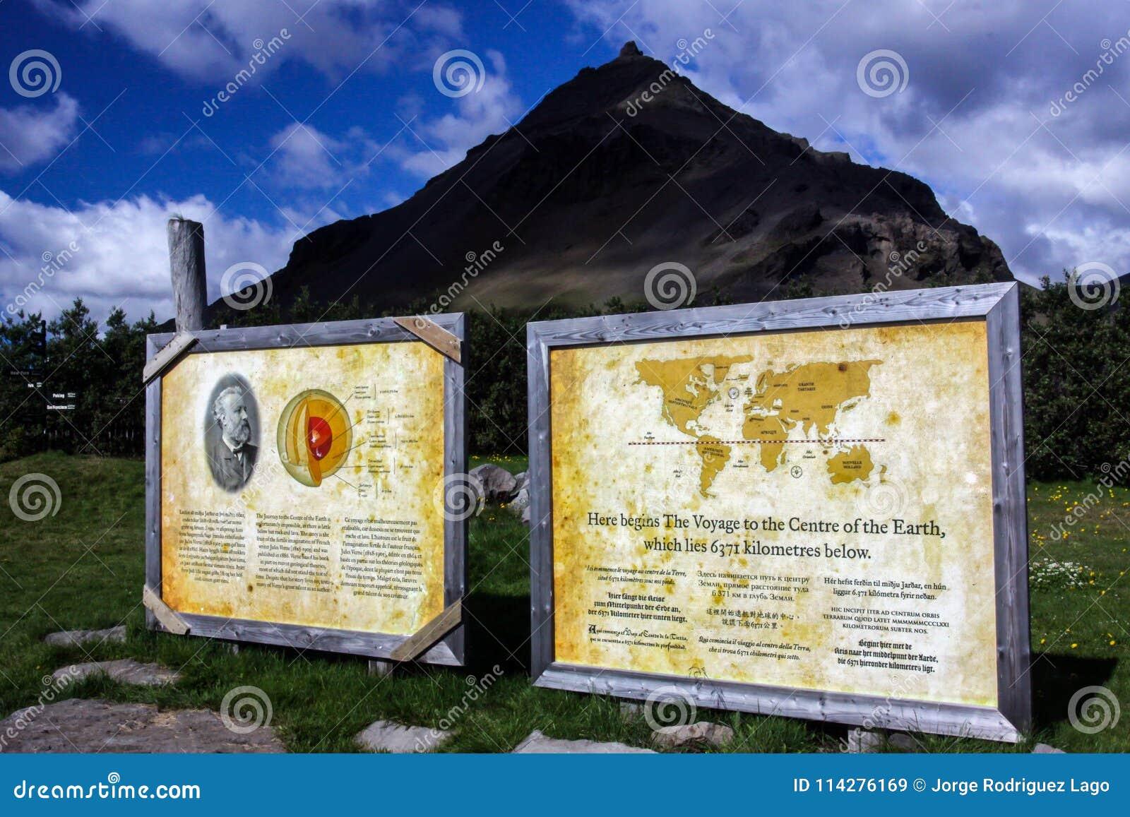 Centro da terra de acordo com Jules Verne em Islândia