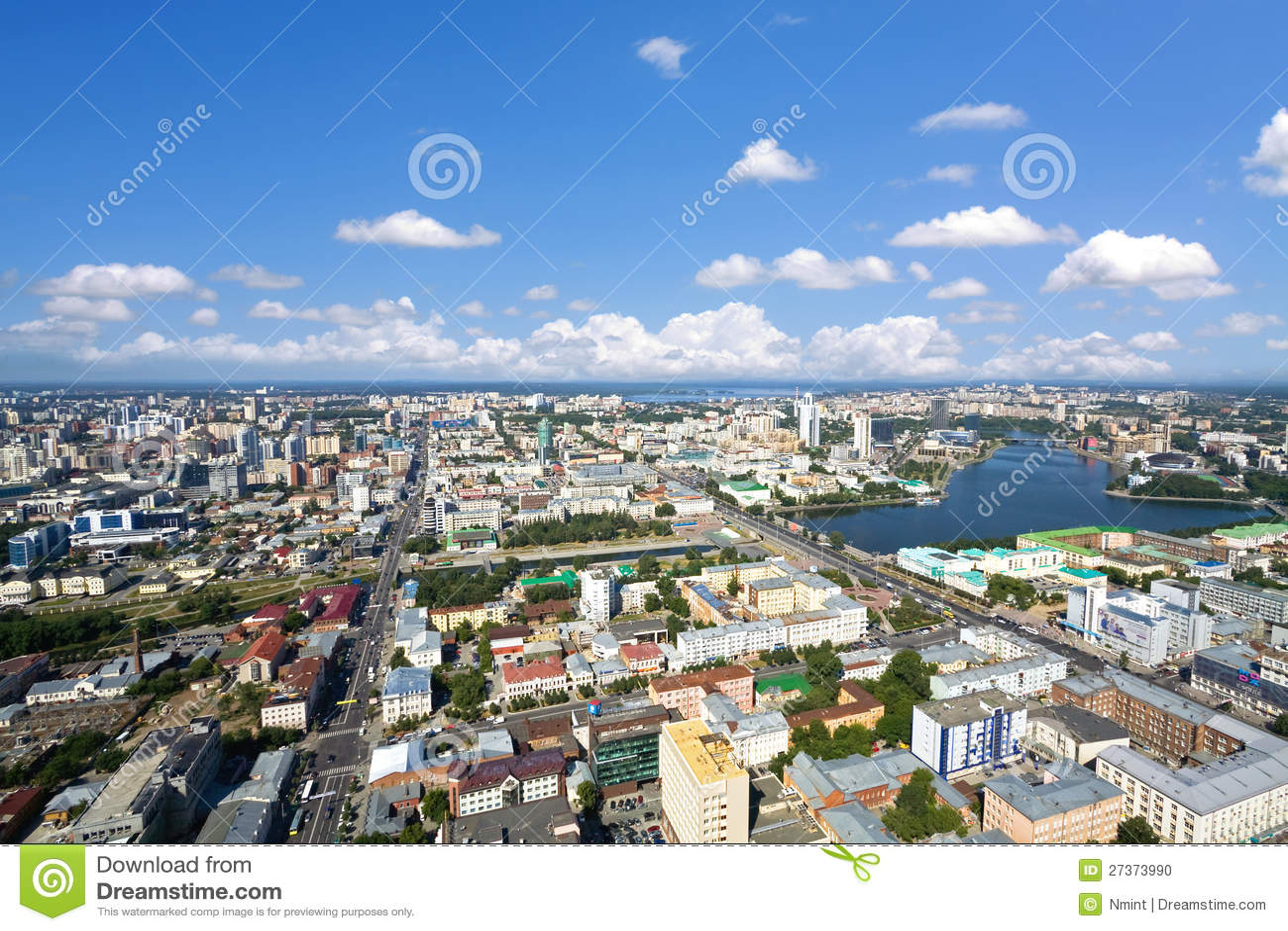 Centro de ciudad de Yekaterinburg, visión aérea