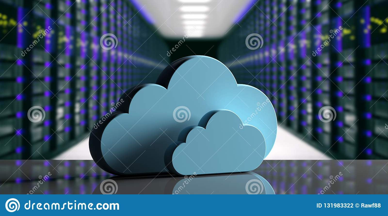 Centro de dados de computação da nuvem Nuvem do armazenamento no fundo do centro de dados do computador ilustração 3D