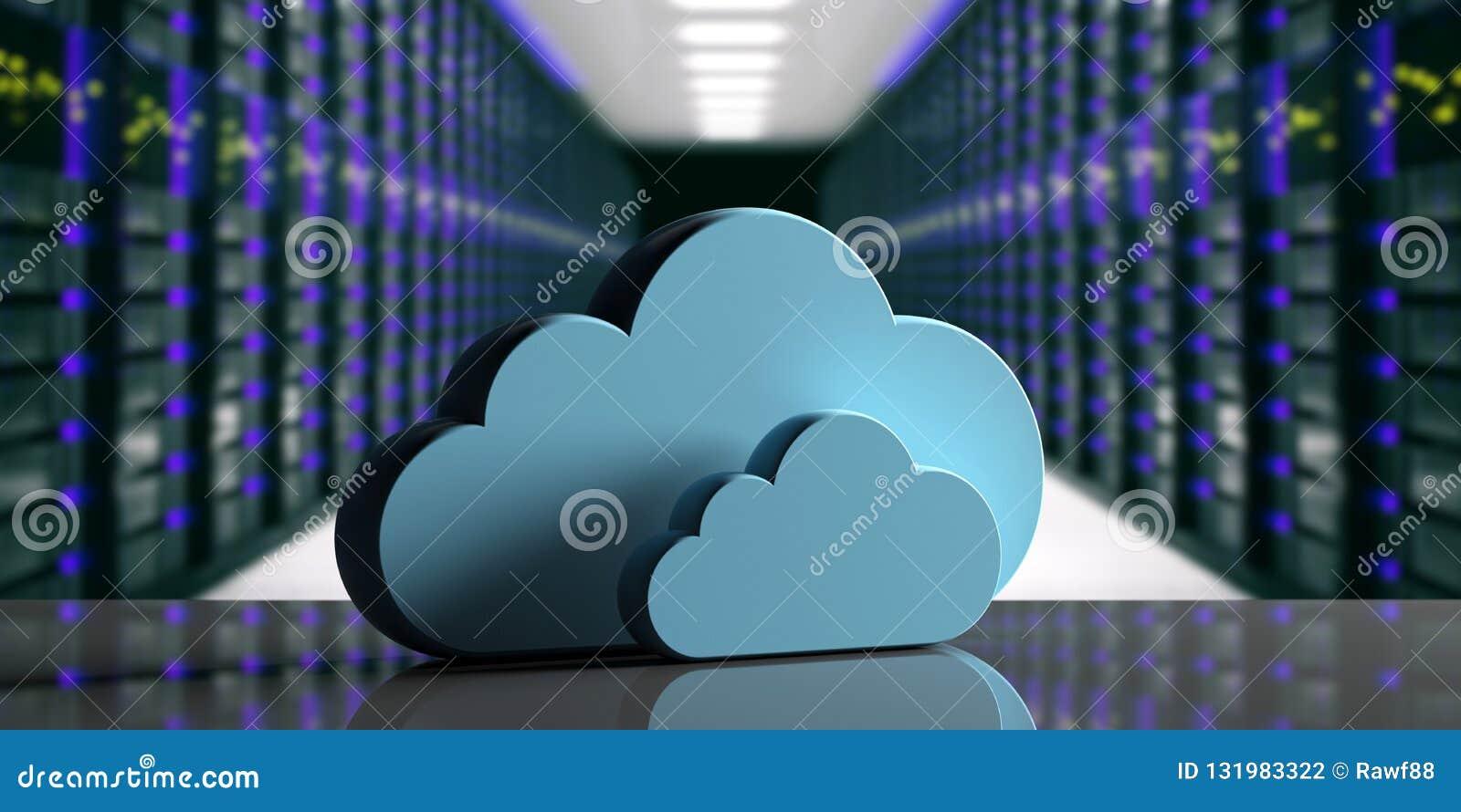 Centro de datos computacional de la nube Nube del almacenamiento en fondo del centro de datos del ordenador ilustración 3D