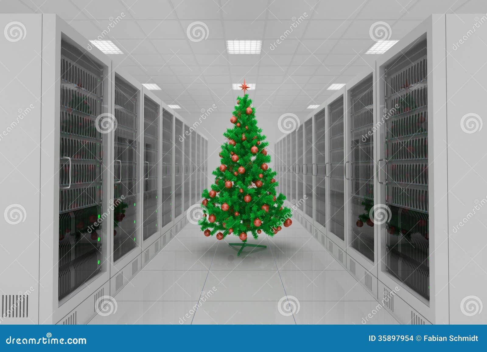 Centro de datos con el árbol de navidad