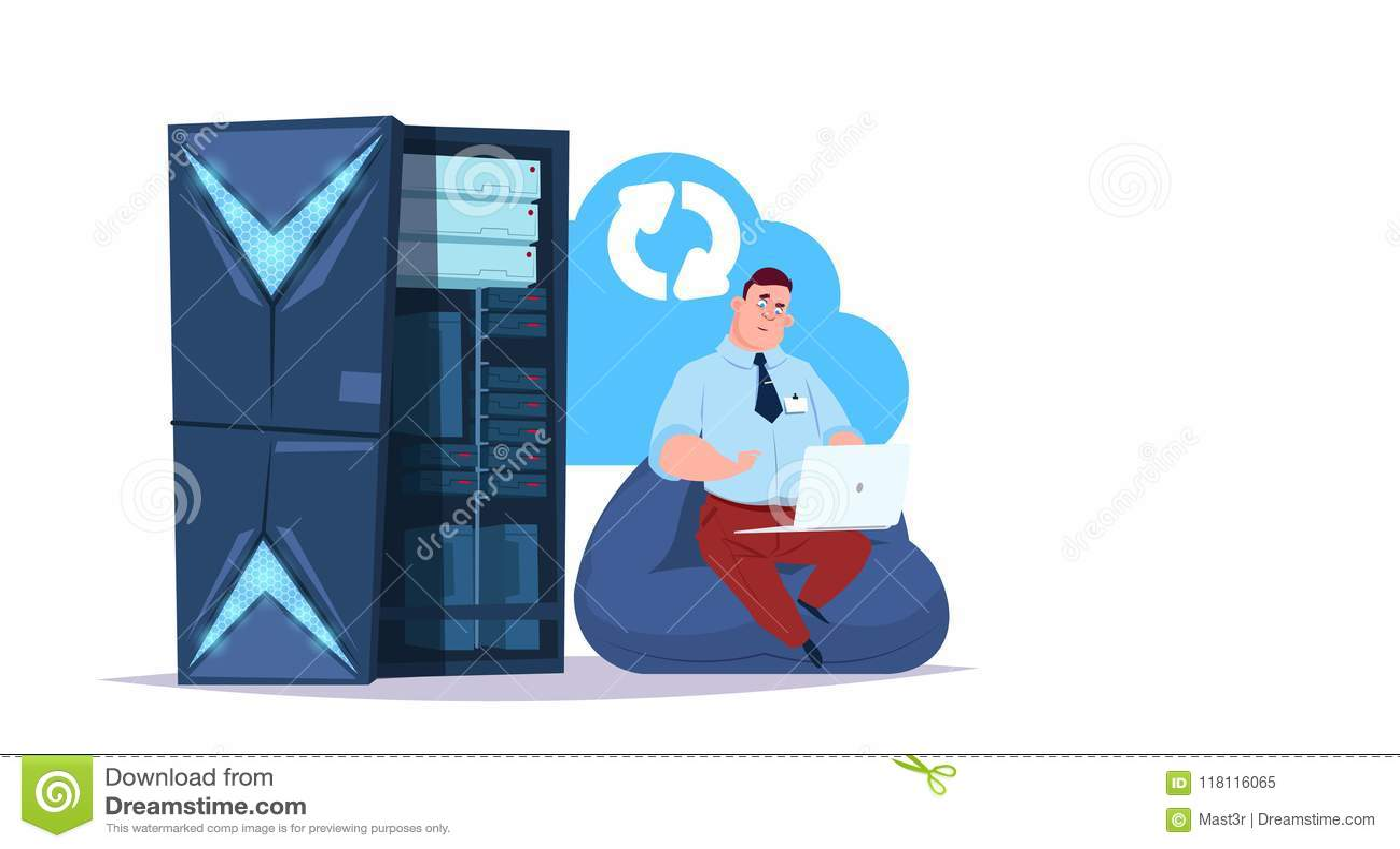 Centro de la nube de la sincronización del almacenamiento de datos con los servidores y el personal de recibimiento Informática,