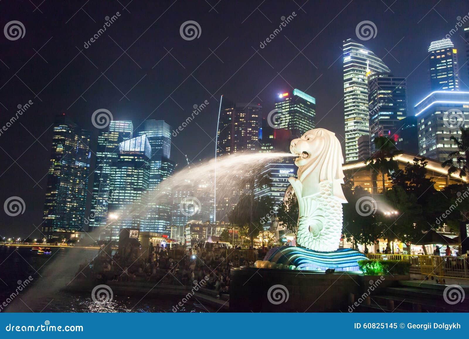 Centro de Singapur en la noche