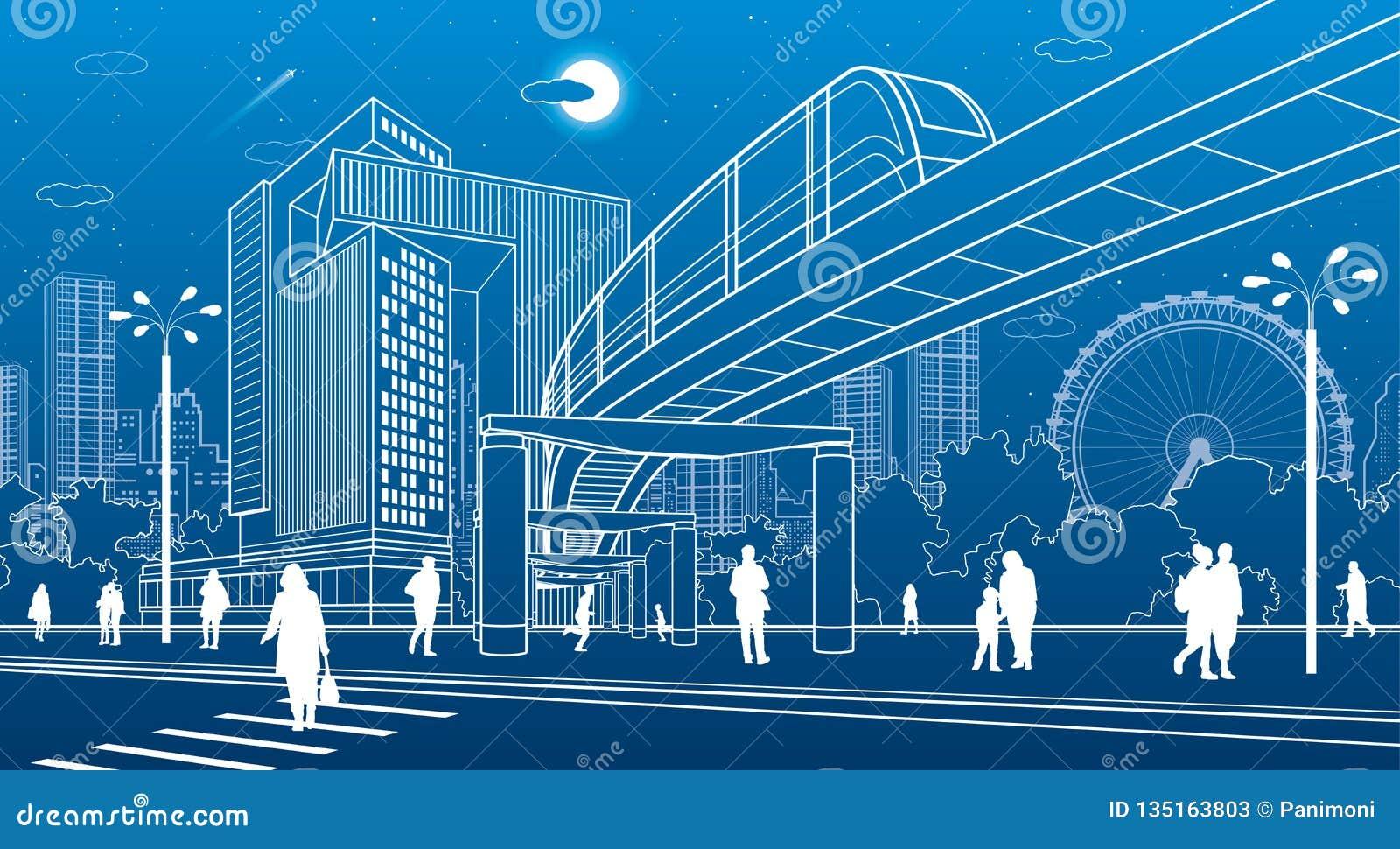 Centro di affari, architettura della città La gente che cammina alla via della città Attraversamento della strada Ponte della mon