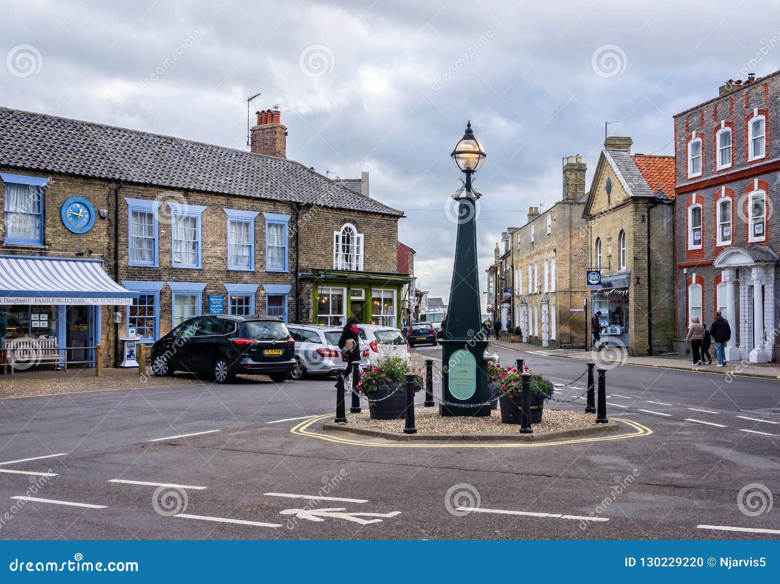 Centro edificato e mercato di Southwold in Southwold, Suffolk, Regno Unito