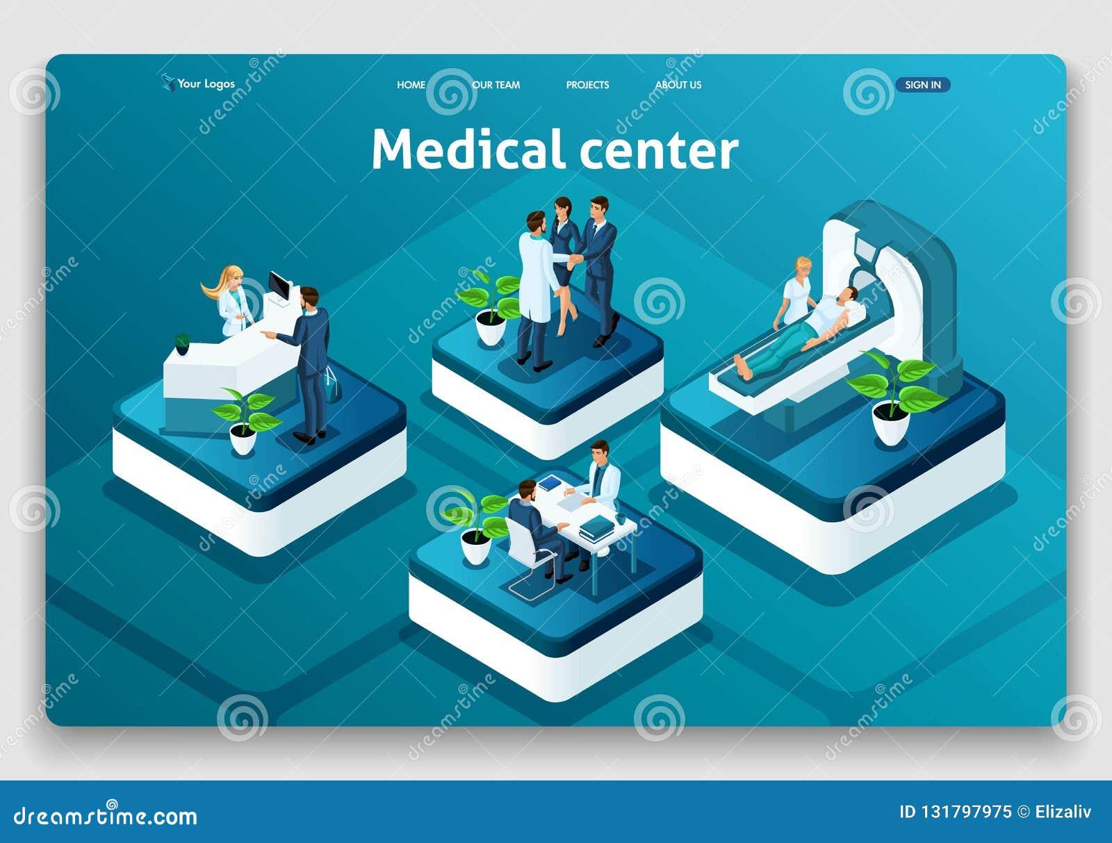 Centro médico de aterrizaje isométrico del concepto de la página de la página web de la plantilla Doctor que diagnostica al pacie