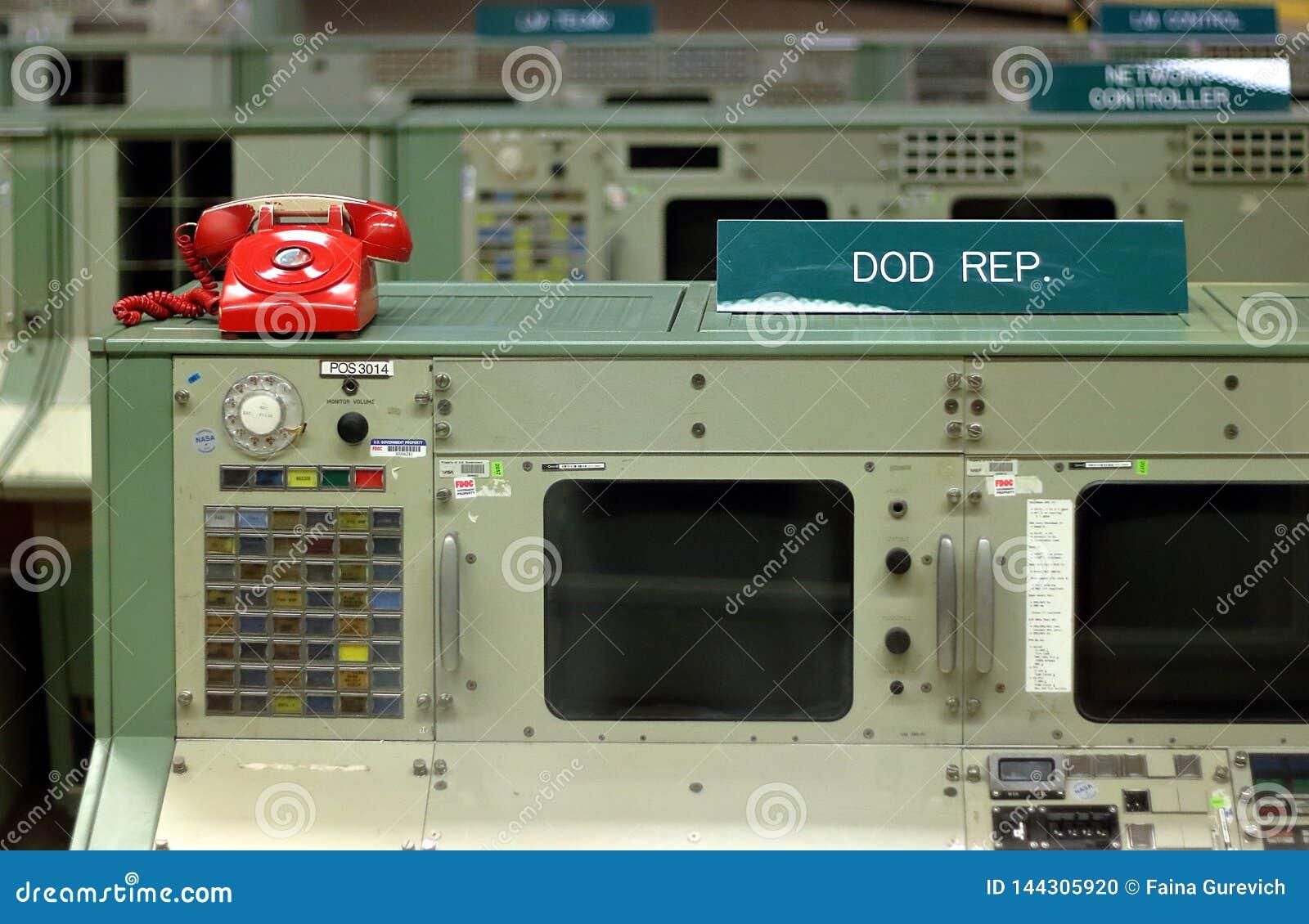 Centro spaziale della NASA del controllo della missione di era di Apollo a Houston, il Texas