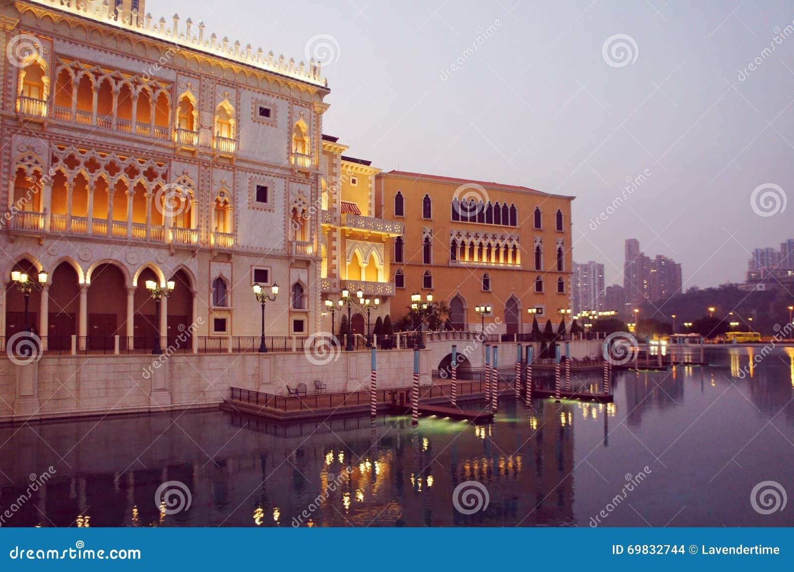 Centro turístico de la copia del palacio del dux veneciano del casino de Macao igualando