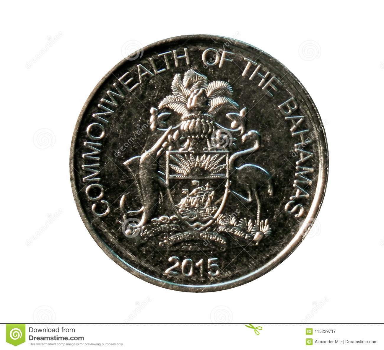 25 Cents Coin Commonwealth Decimal Coinage Bank Of Bahamas