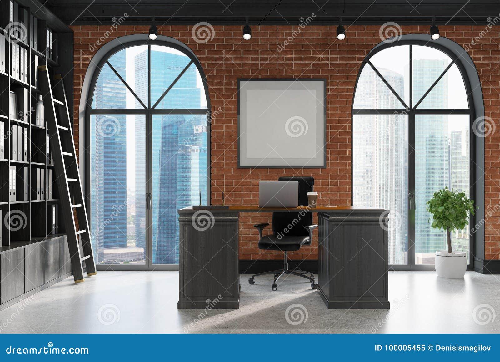 ceo bureau boekenkast en lijst ladderkant
