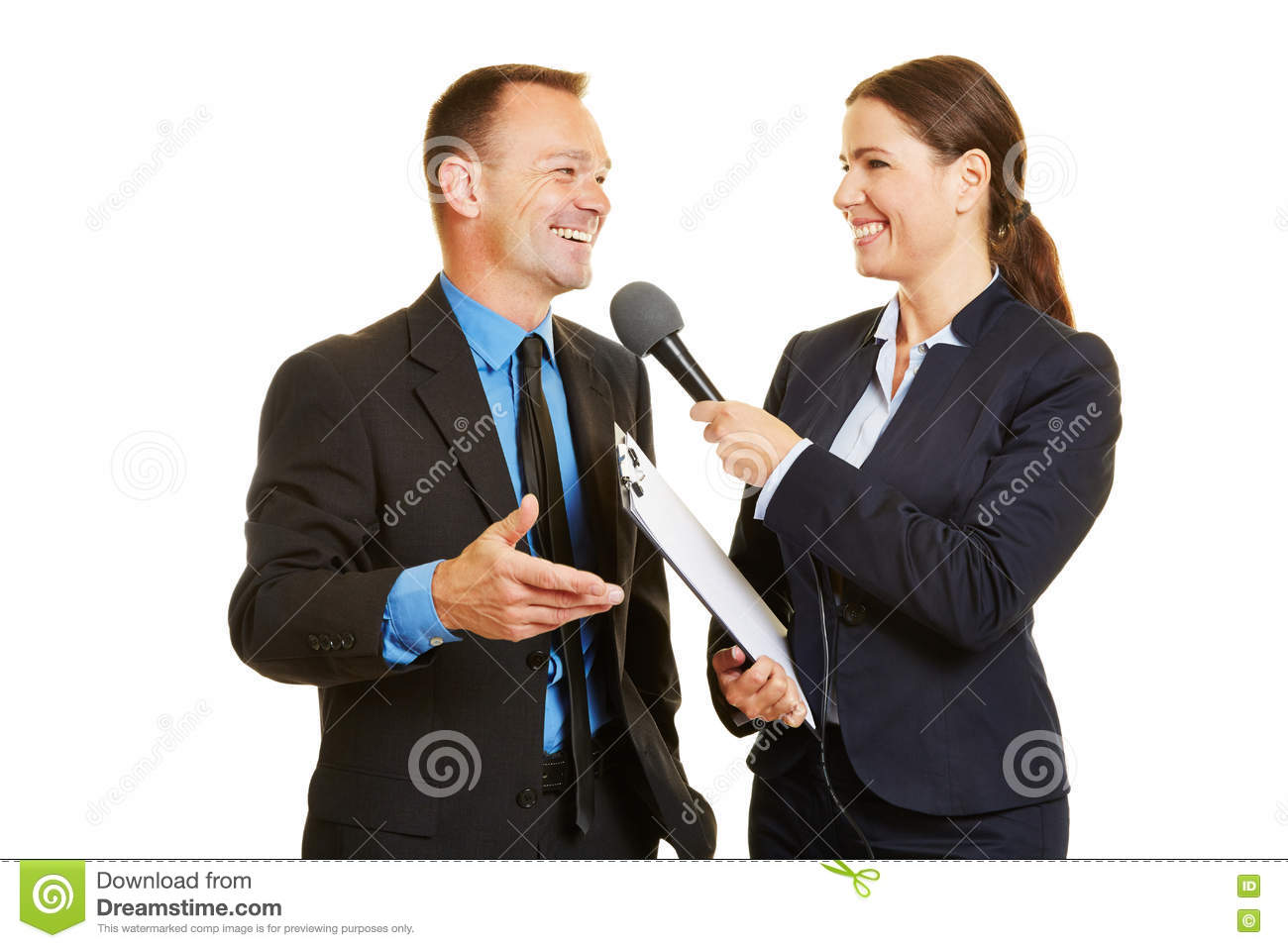 CEO of business company giving interview to the media