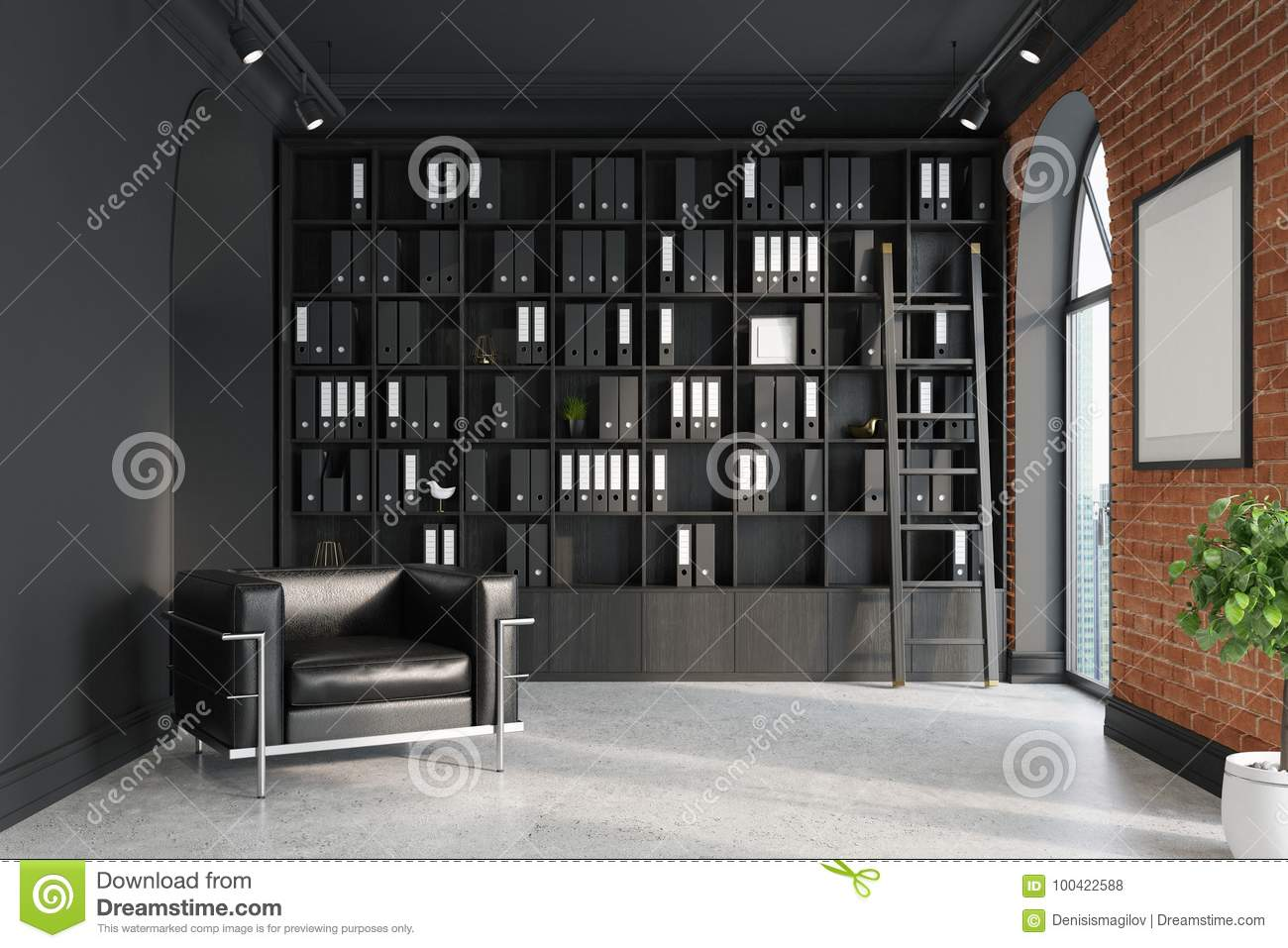 Ceo Office Bookcase Armchair Ladder Stock Illustration