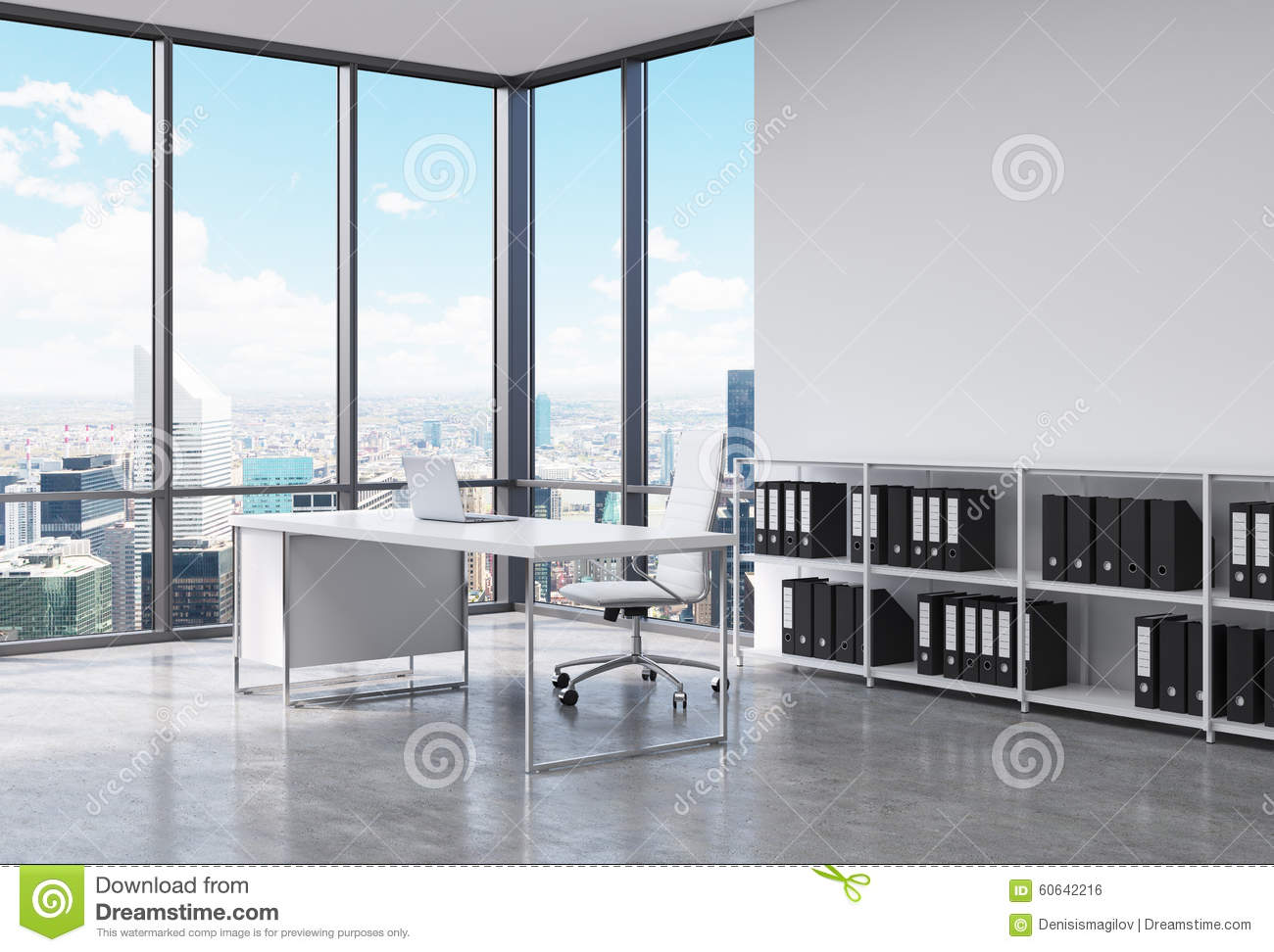 contemporary kitchen office nyc. A CEO Workplace In Modern Corner Panoramic Office New York City. White Desk With Laptop, Leather Chair And Booksh Contemporary Kitchen Nyc I
