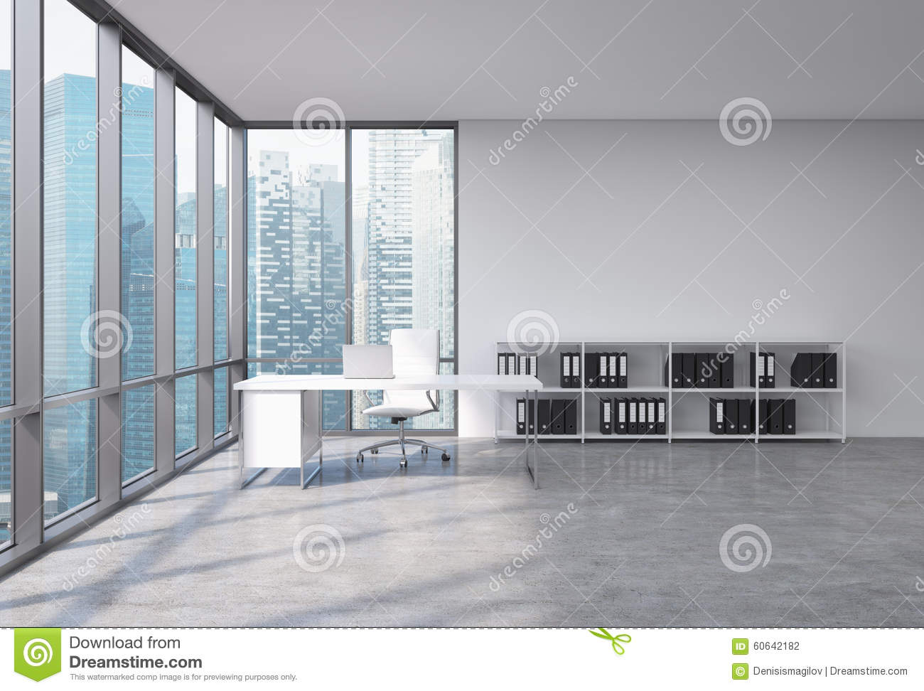 A CEO Workplace In A Modern Corner Panoramic Office With Singapore ...