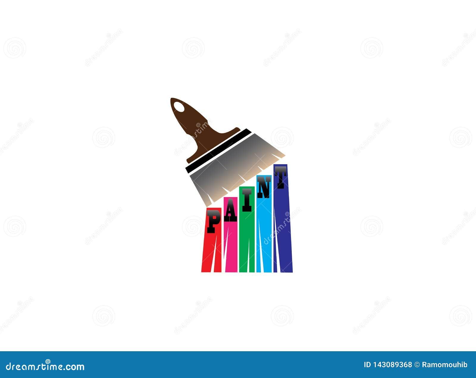 Cepille la pintura con los multicolors para el diseño del logotipo