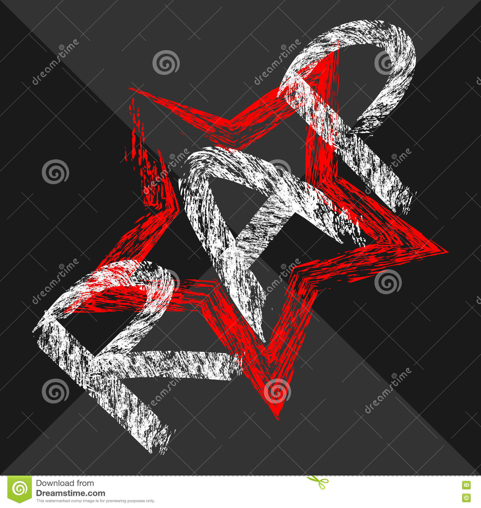 Cepillo áspero pintado rap del texto Estrella intermitente Fondo oscuro