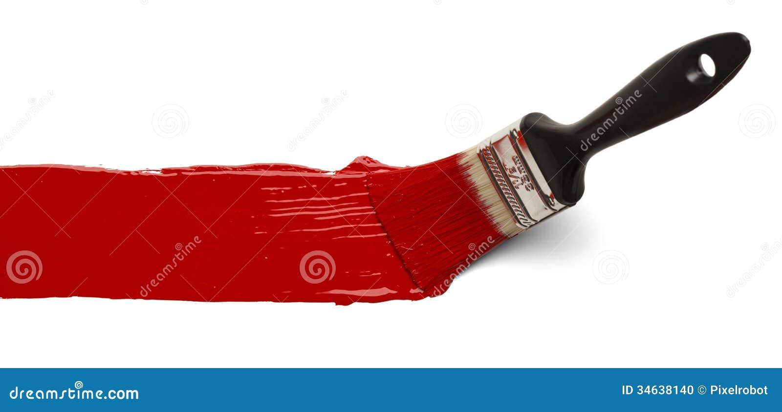 Cepillo con la pintura roja