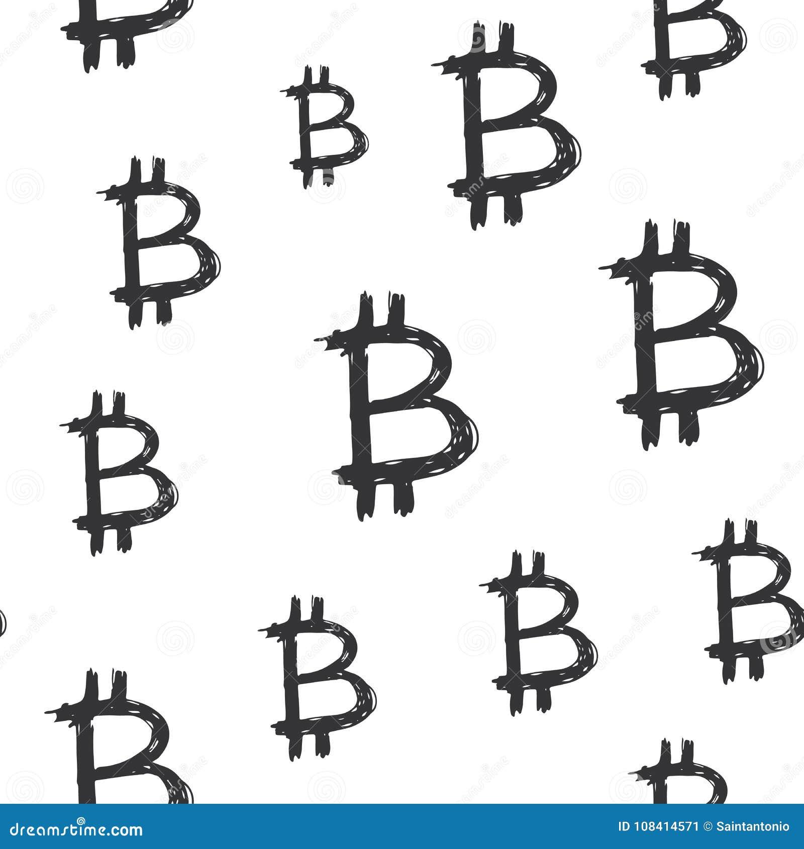 Cepillo del icono de la muestra de Bitcoin que pone letras al modelo inconsútil, símbolos caligráficos fondo, ejemplo del Grunge