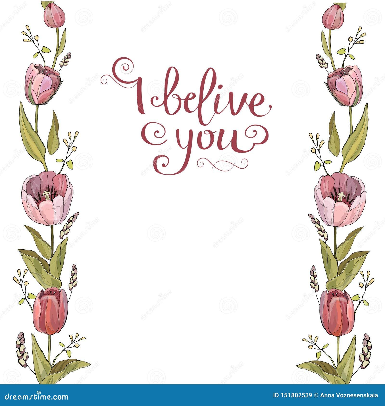 Cepillo inconsútil de las flores del tulipán en vector en el fondo blanco;