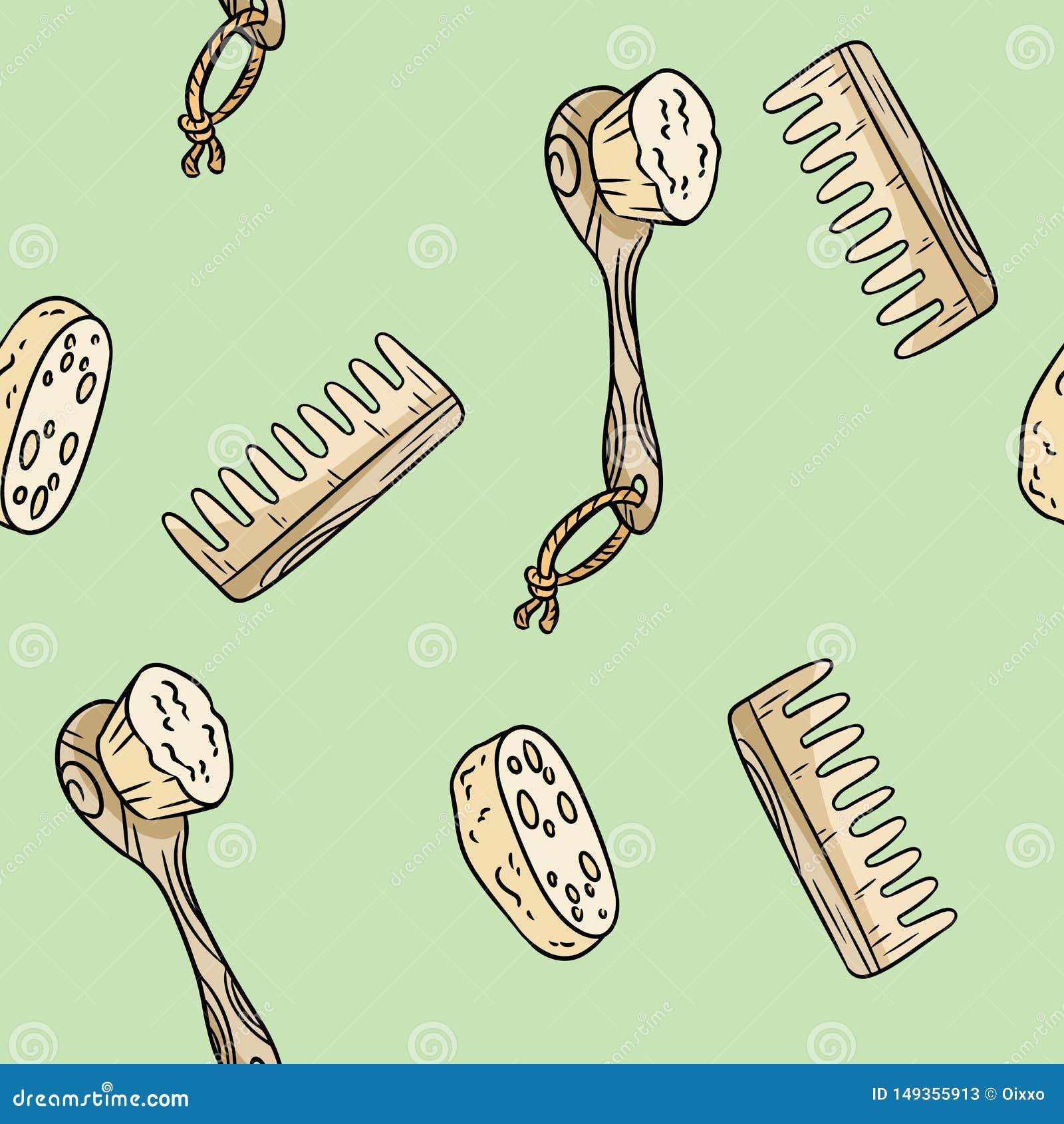 Cepillo material natural de la ducha, lufa y modelo incons?til del peine Producto ecol?gico y de la cero-basura Casa y pl?stico-l