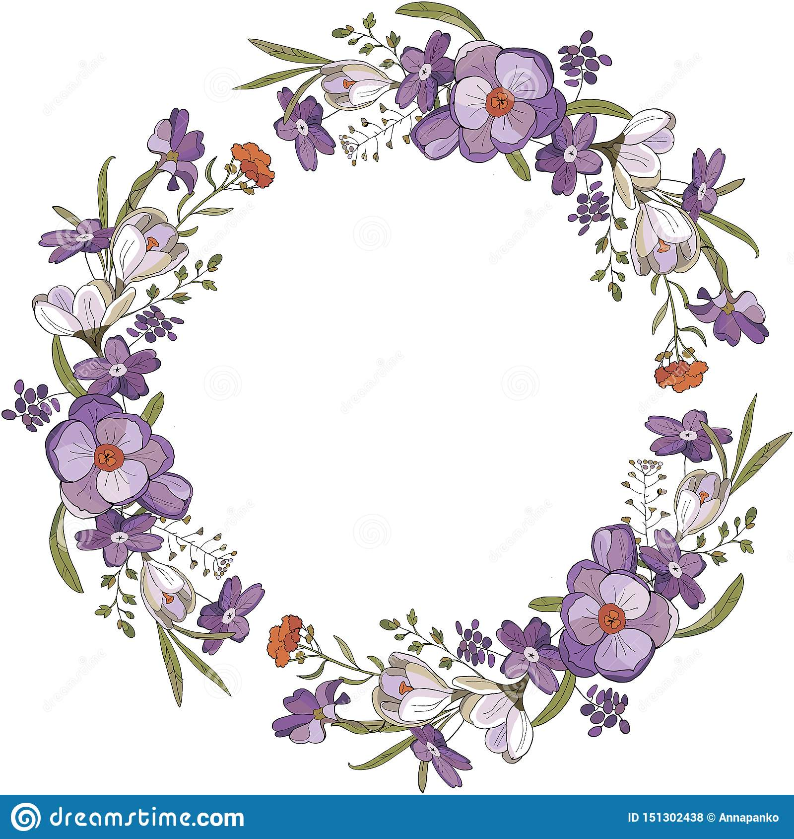 Cepillo y guirnalda inconsútiles de las flores del azafrán