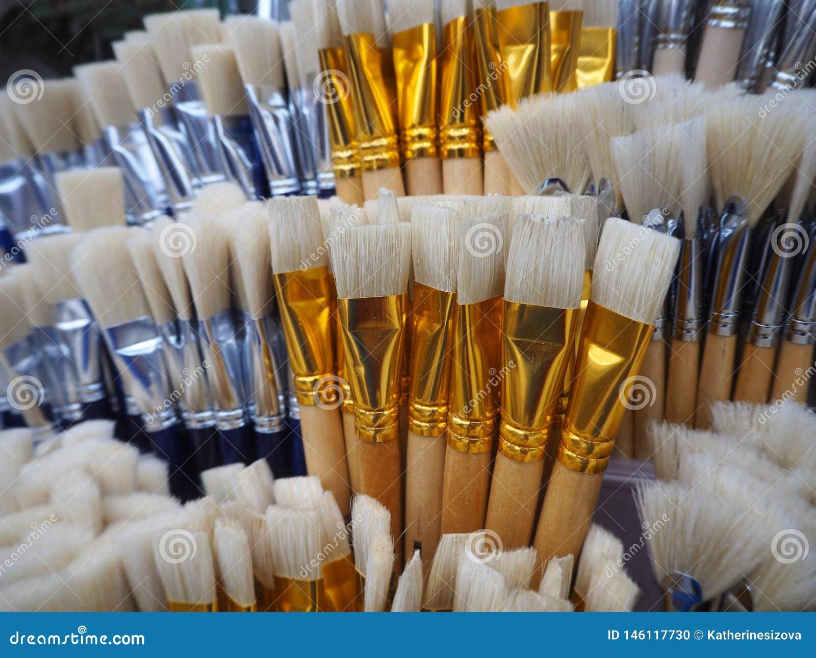 Cepillos blancos y azules para pintar