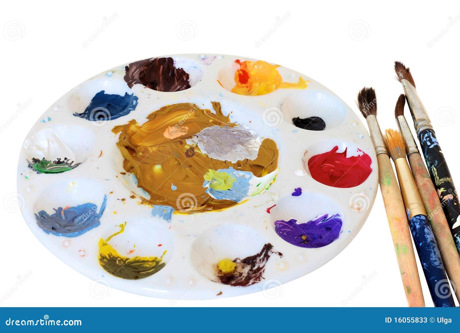 Cepillos de pintura y gama de colores del artista fotos de - Gama colores pintura ...