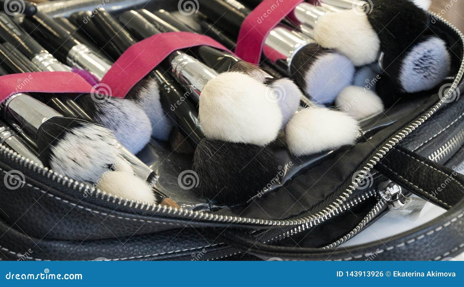 Cepillos del maquillaje en un caso