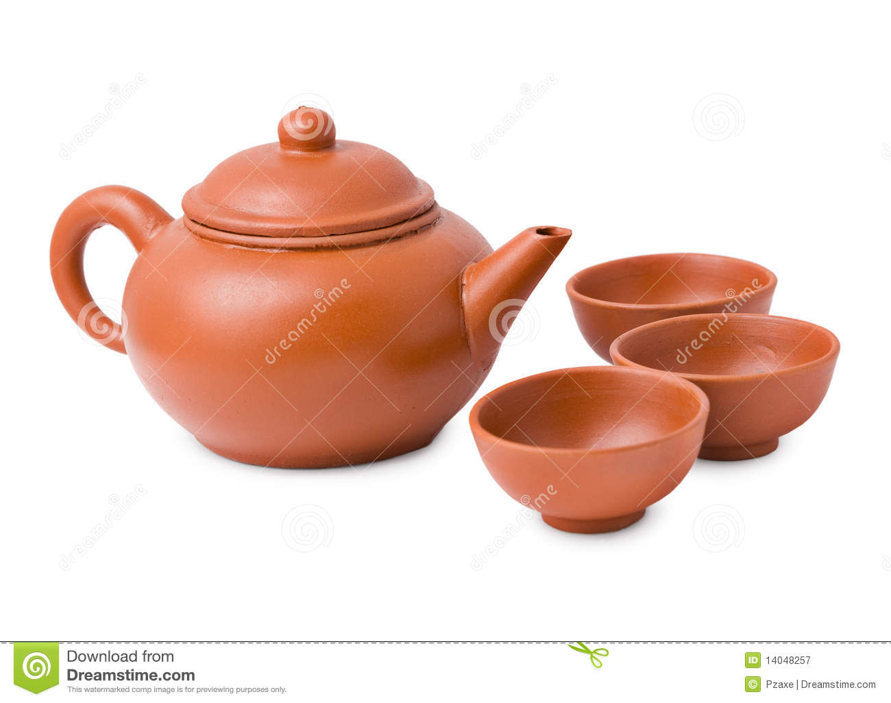 Ceramic Ancient Oriental Teapot And Cups Royalty Free