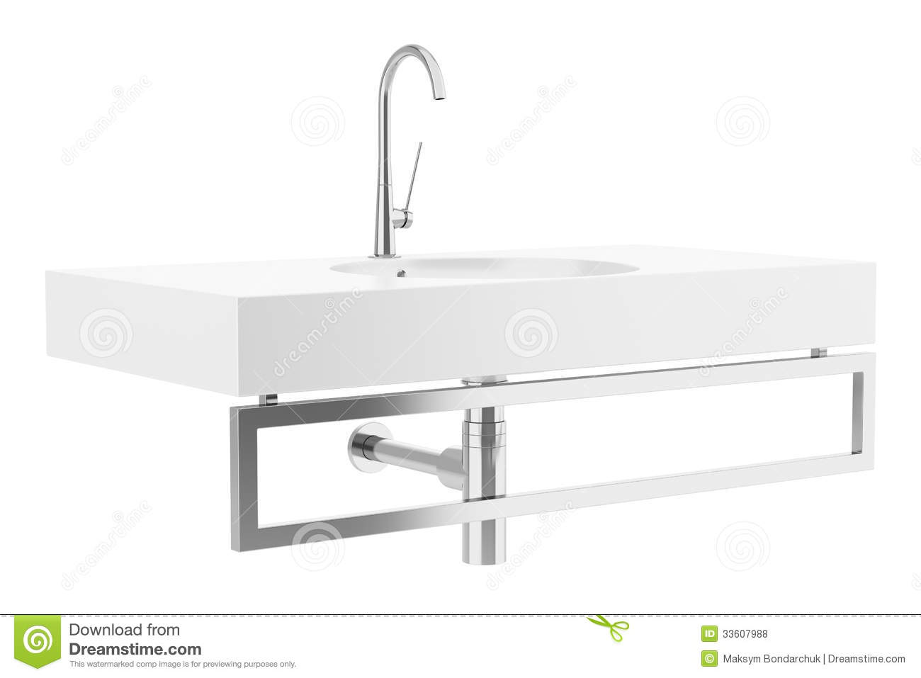 Ceramic Bathroom Sink Isolated On White Royalty Free Stock