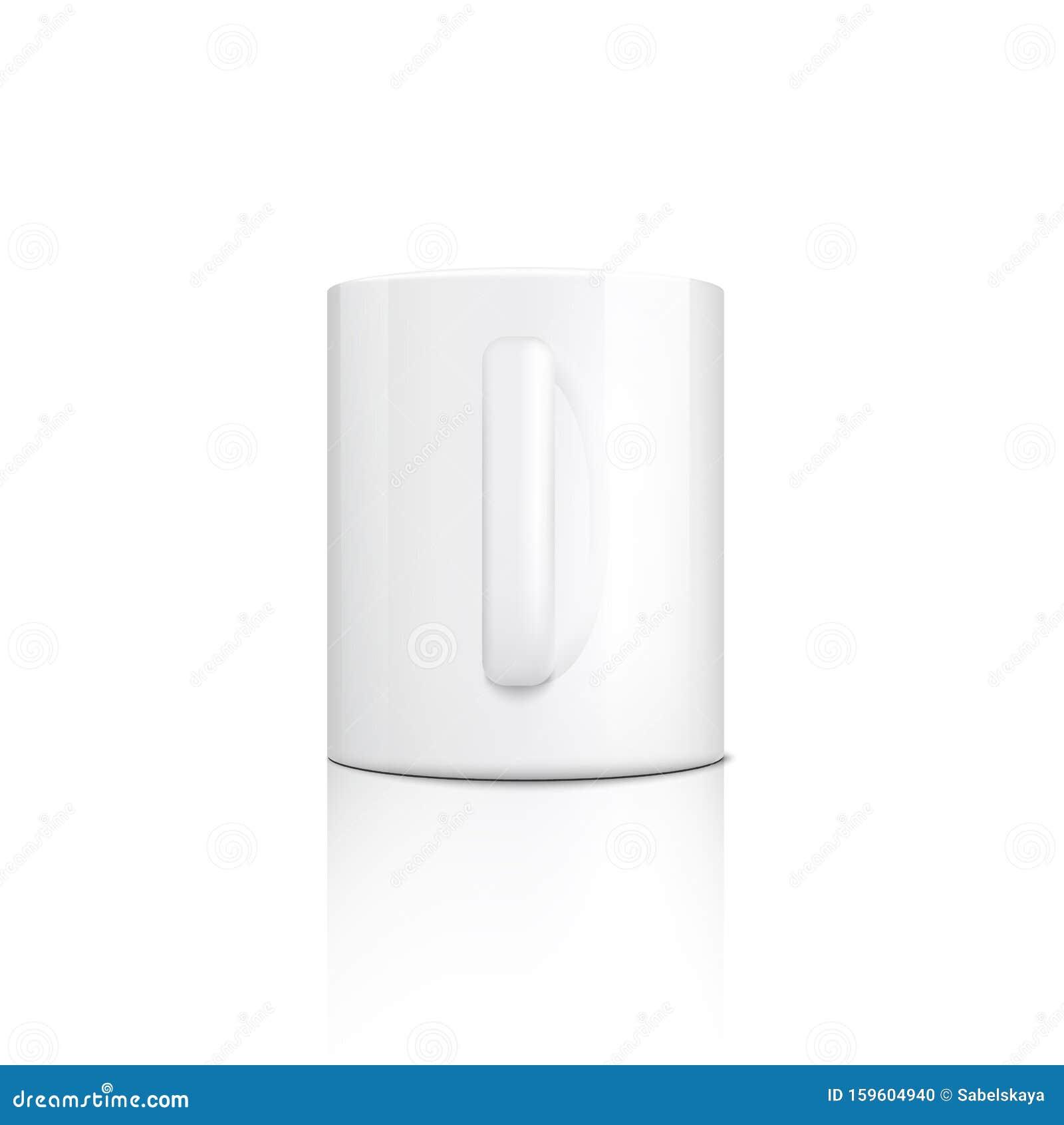 Ceramic Blank White Mug With Handle Vector 3d Mockup