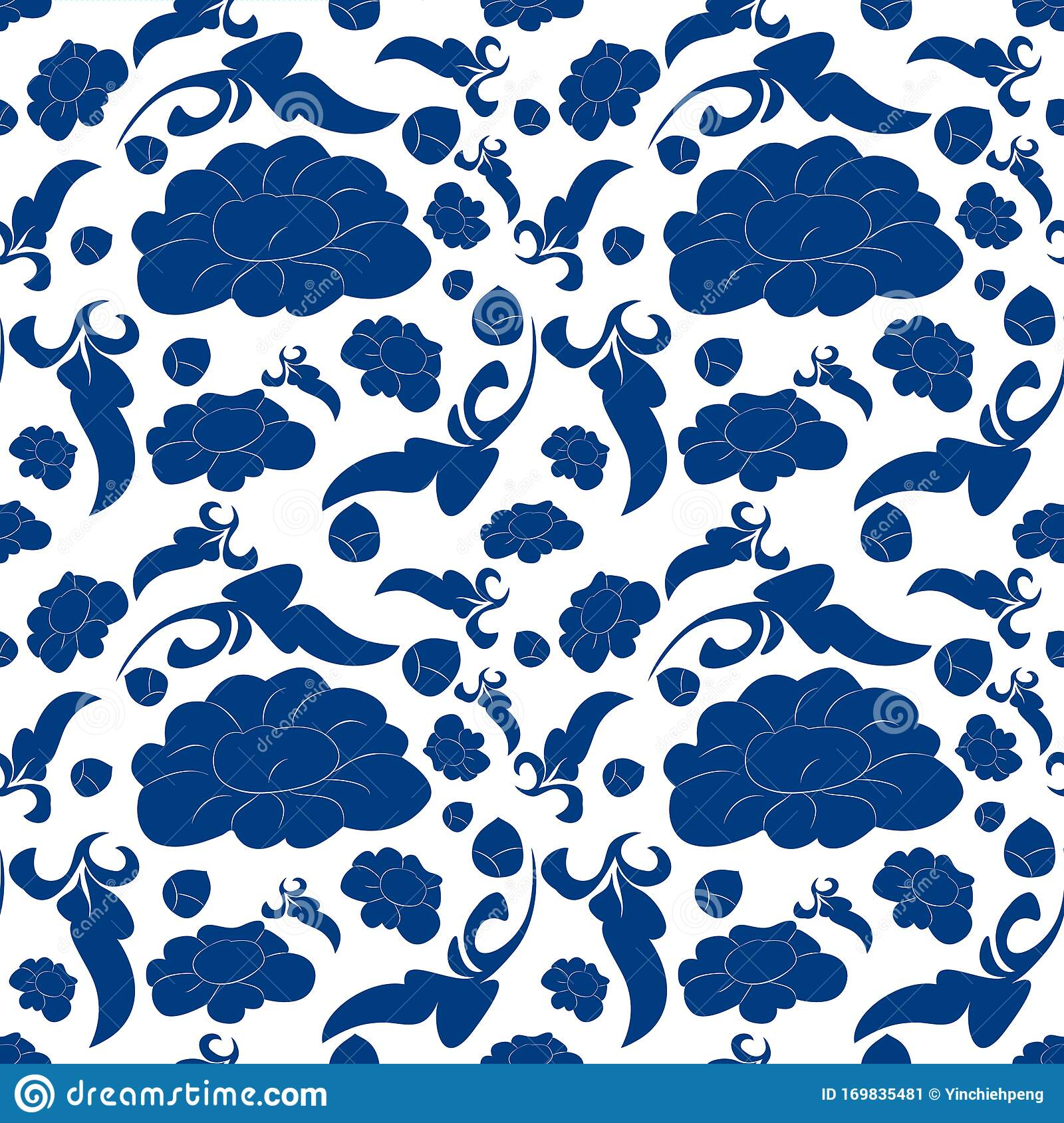 Ceramic Blue And White Floral Pattern Cute Porcelain Background Design Ceramic Blue And White Floral Background Stock Vector Illustration Of Ornament Paper 169835481