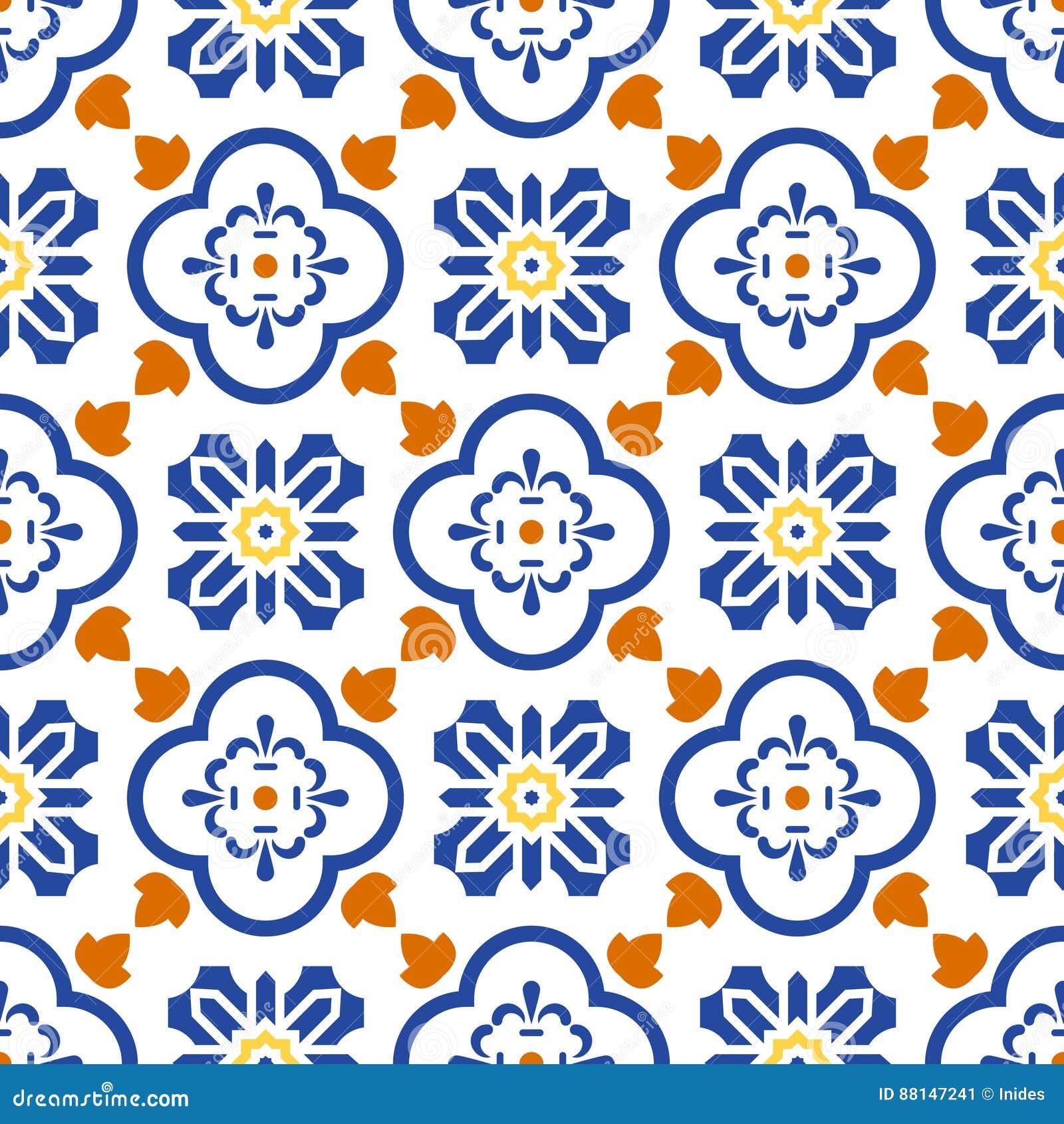 Ceramic Blue And White Mediterranean Seamless Tile Pattern