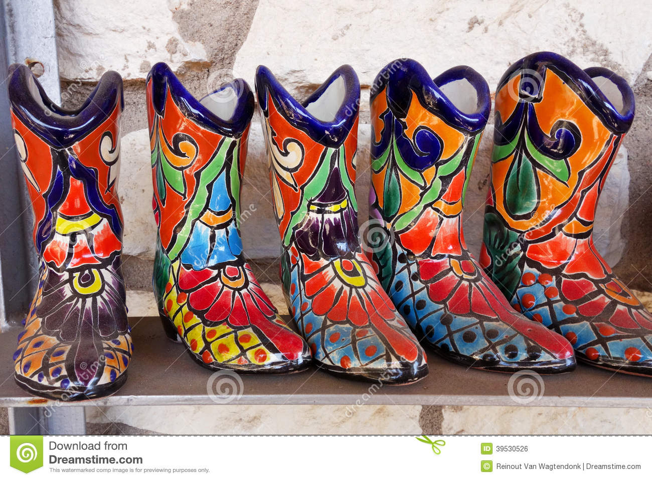 Ceramic Boots From Mexico Stock Photo Image 39530526