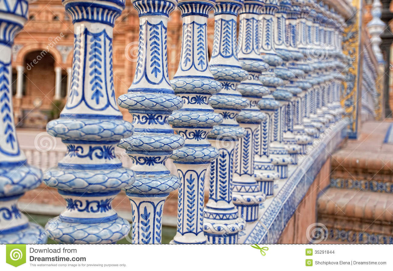 Ceramic Bridge In Plaza De Espana In Seville Stock Images