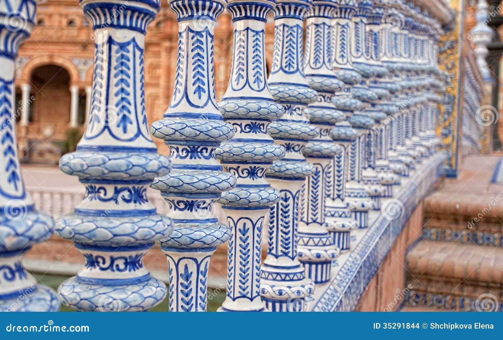 Ceramic Bridge In Plaza De Espana In Seville Stock Images