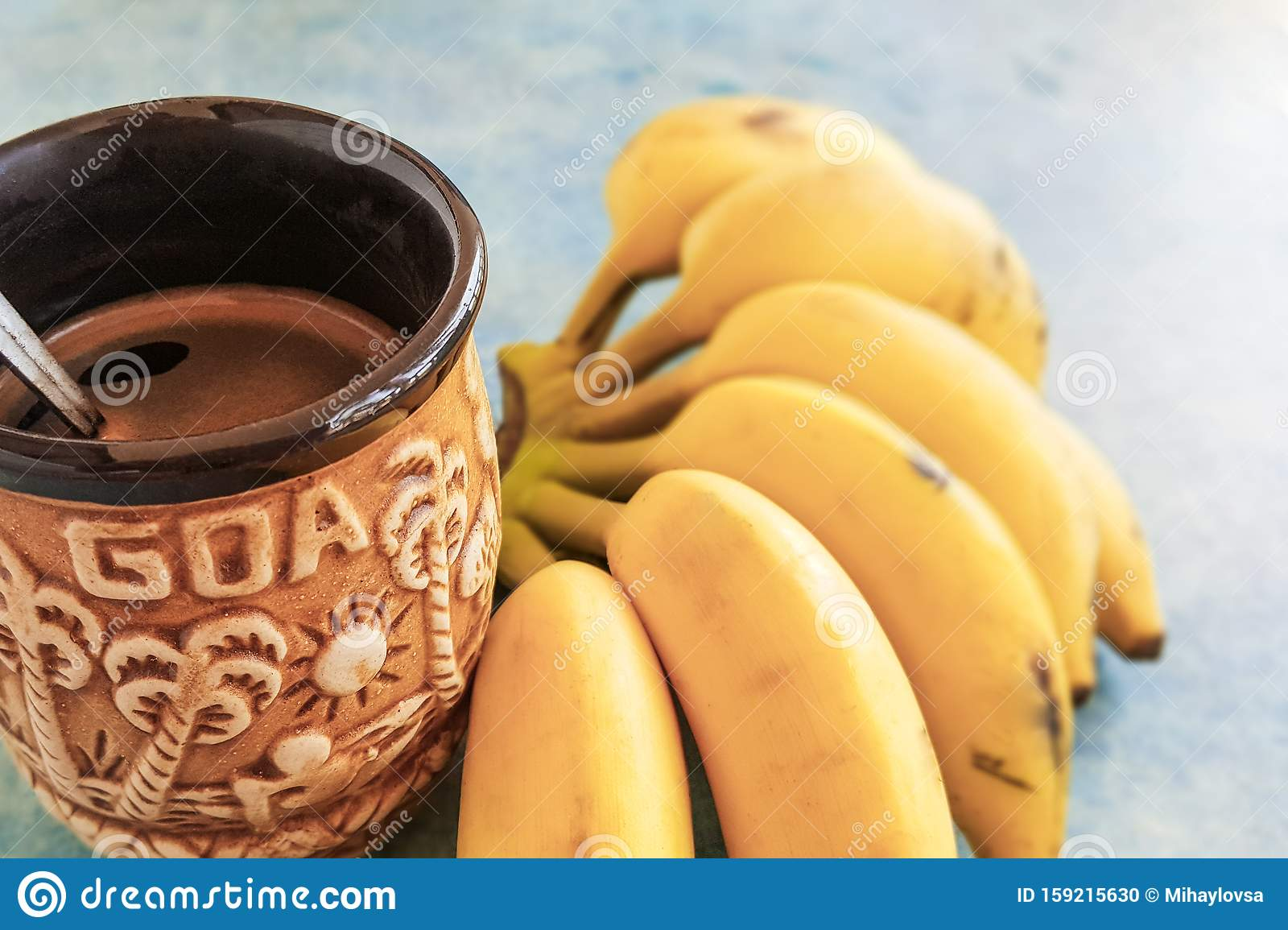 Ceramic Coffee Mug And Bunch Of Bananas Stock Photo Image Of Break Cafe 159215630
