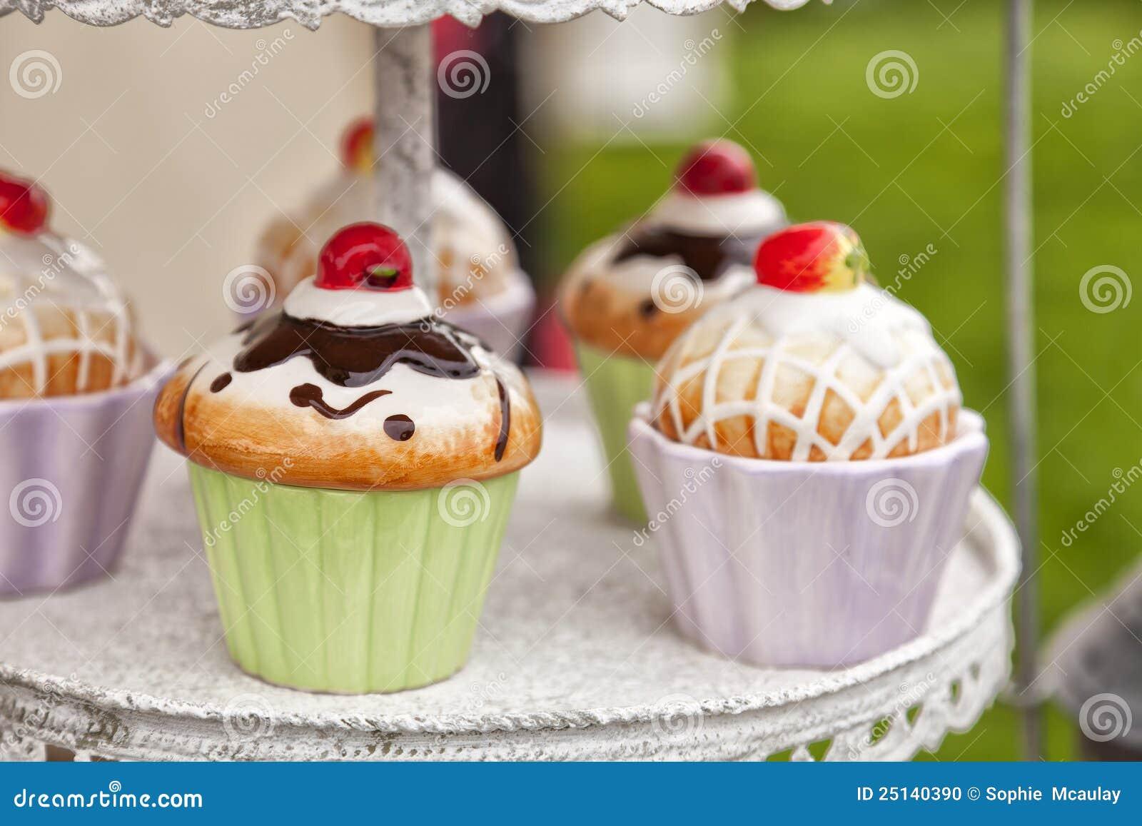 Ceramic Cupcake Containers Stock Photo Image Of Dessert