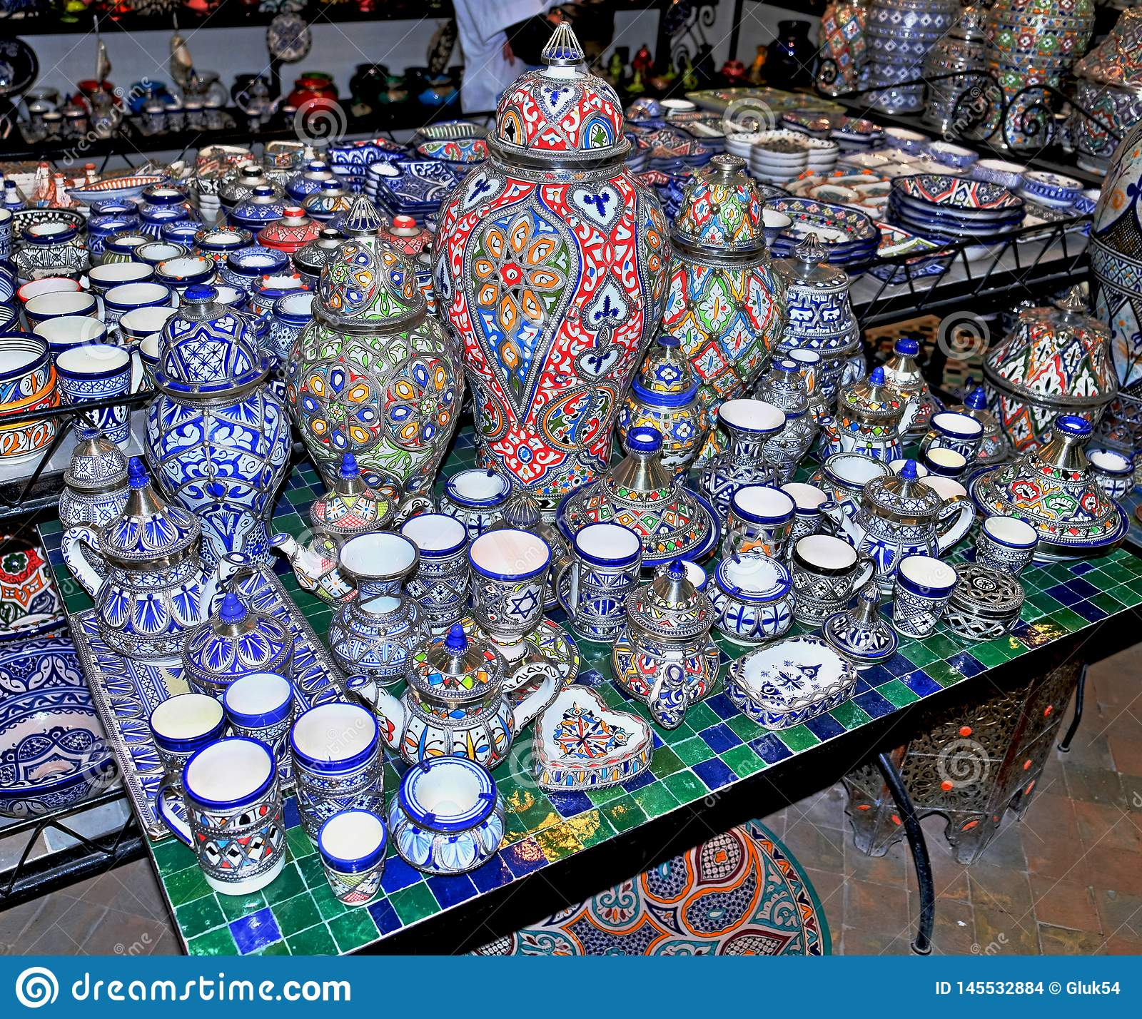 Ceramic dishes and other ceramic products made by Moroccan craftsmen by hand