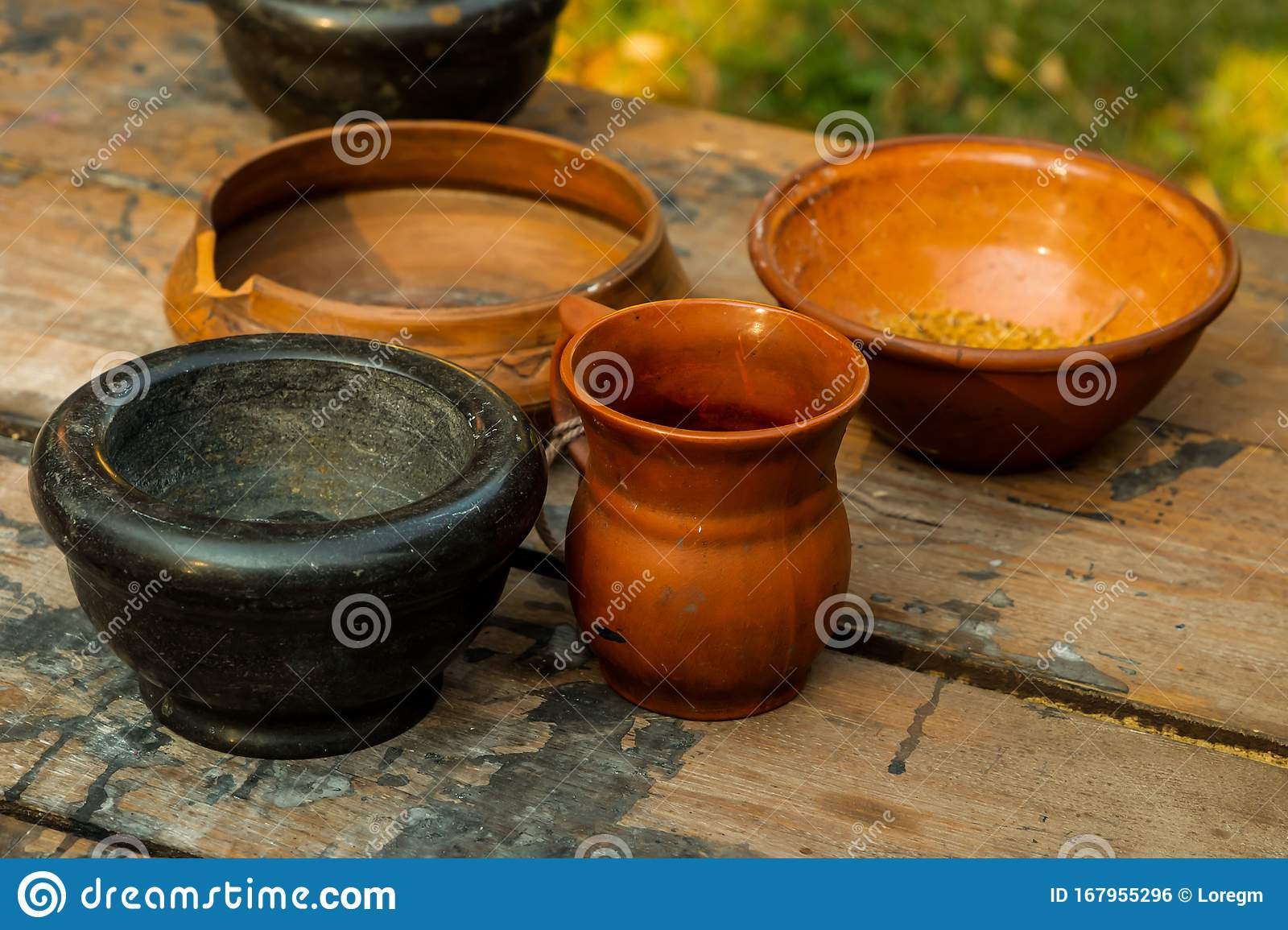 Ceramic Dishes Set Brown Deep Plate And A Jug With A Mug Stand Next To The Mortar A Rustic Kitchen Pattern Stands On A Wooden Stock Photo Image Of Bowl Pottery