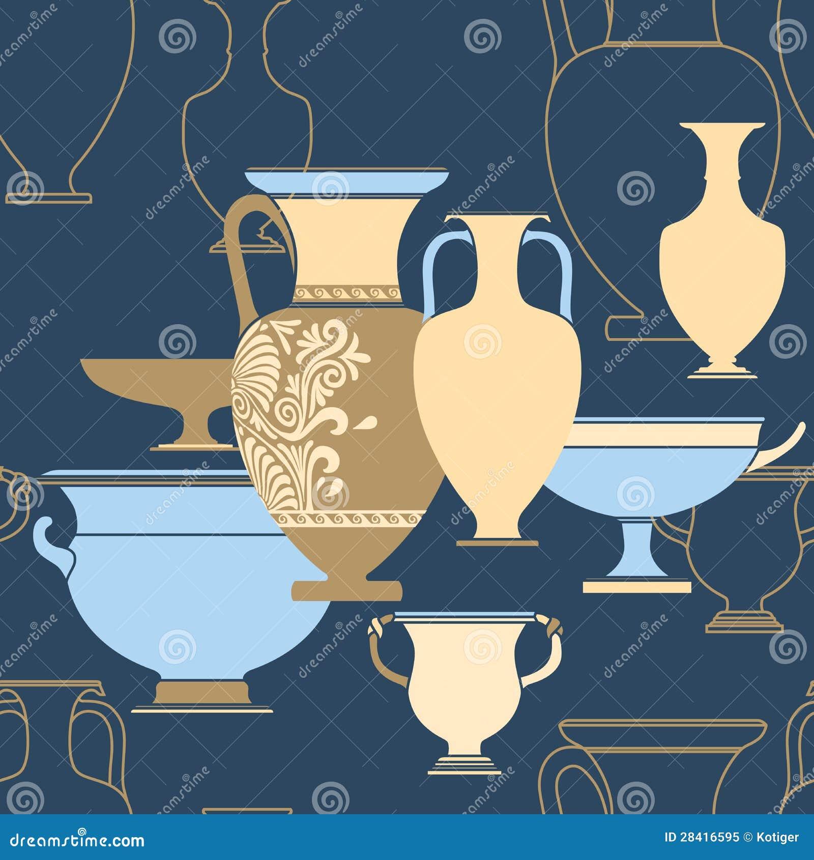 Ethnic National: Ceramic Ethnic National Greek Style Seamless Pattern